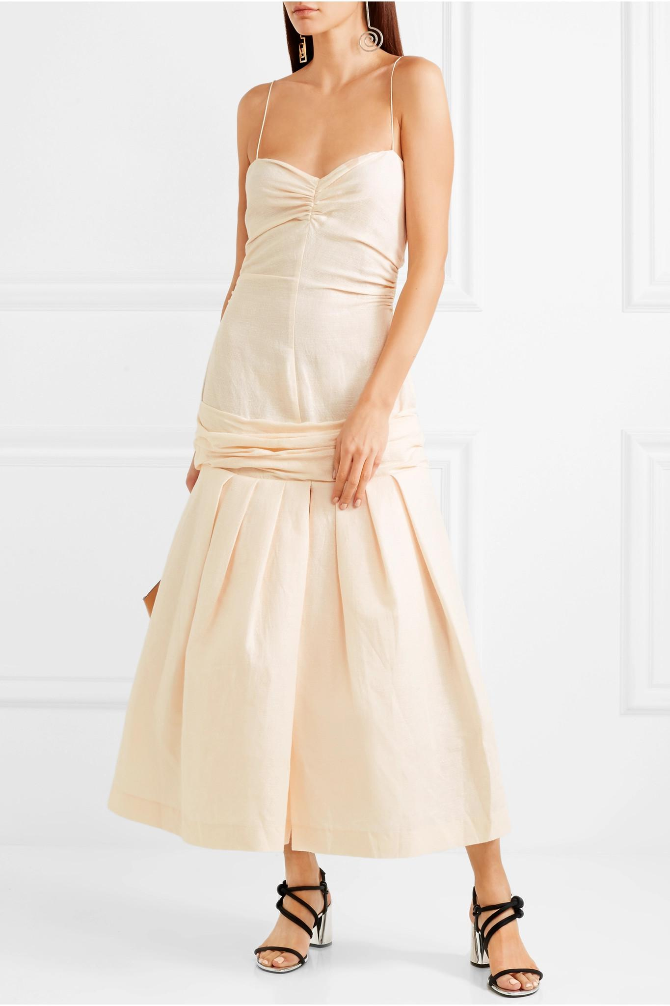94fb618f2ab Lyst - Jacquemus Mamao Linen And Cotton-blend Midi Dress in Natural