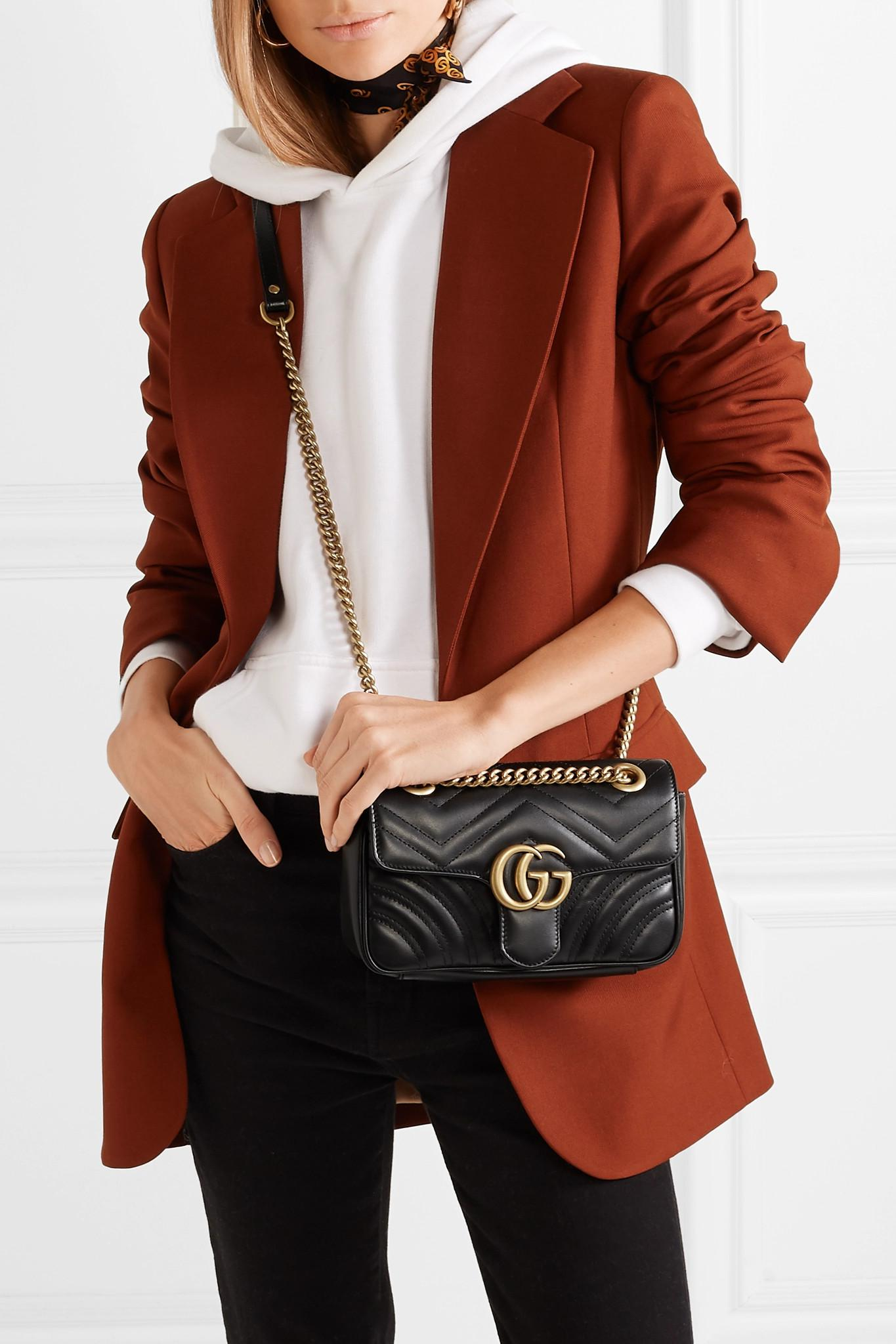 e101fa76343e Lyst - Gucci Gg Marmont Quilted Leather Shoulder Bag in Black