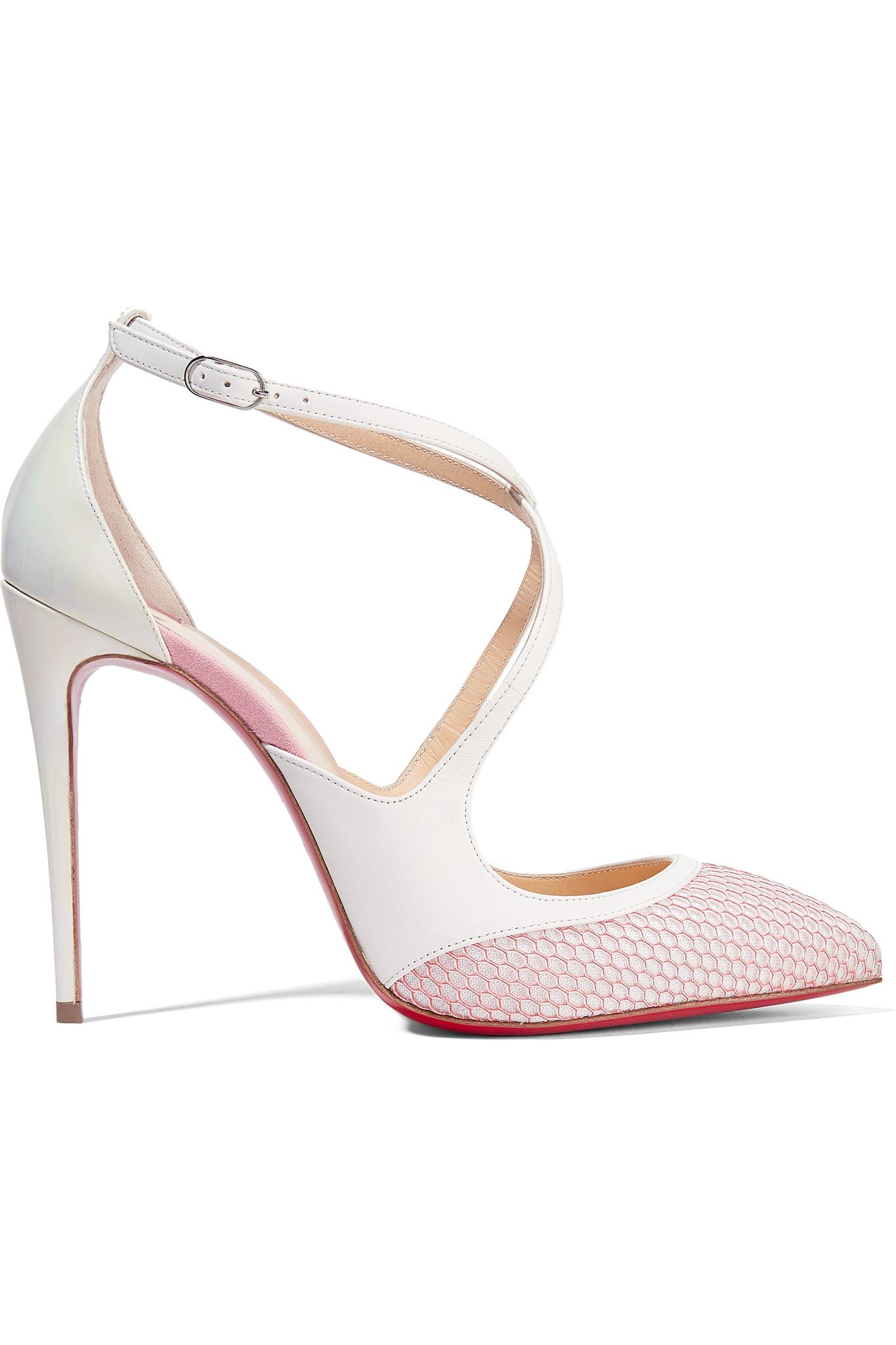 73085ca4cdb7 Lyst - Christian Louboutin Crissos Suede-trimmed Fishnet And Patent ...