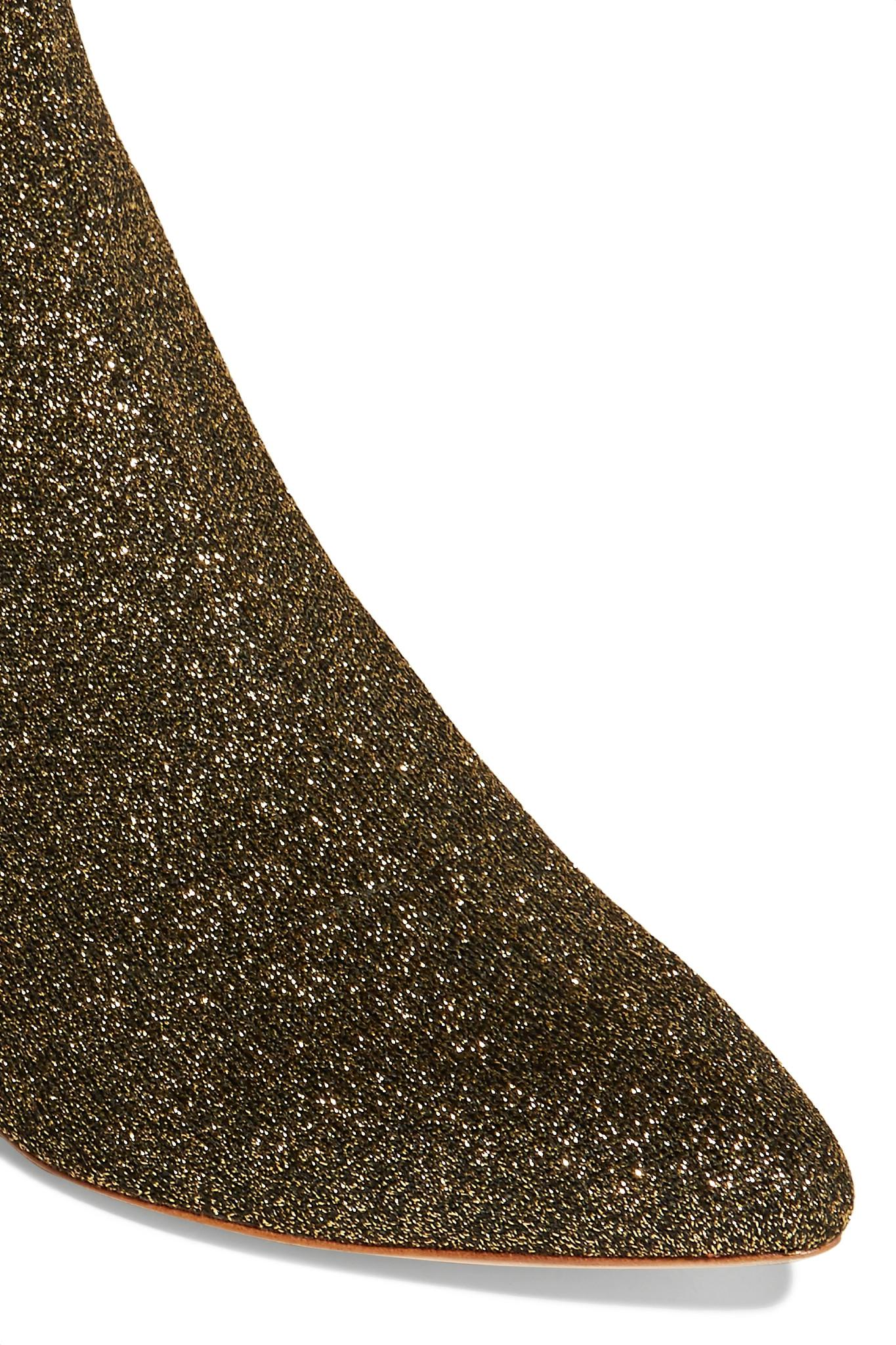 d0847bae577 Loeffler Randall Metallic Kassidy Glittered Stretch-knit Sock Boots