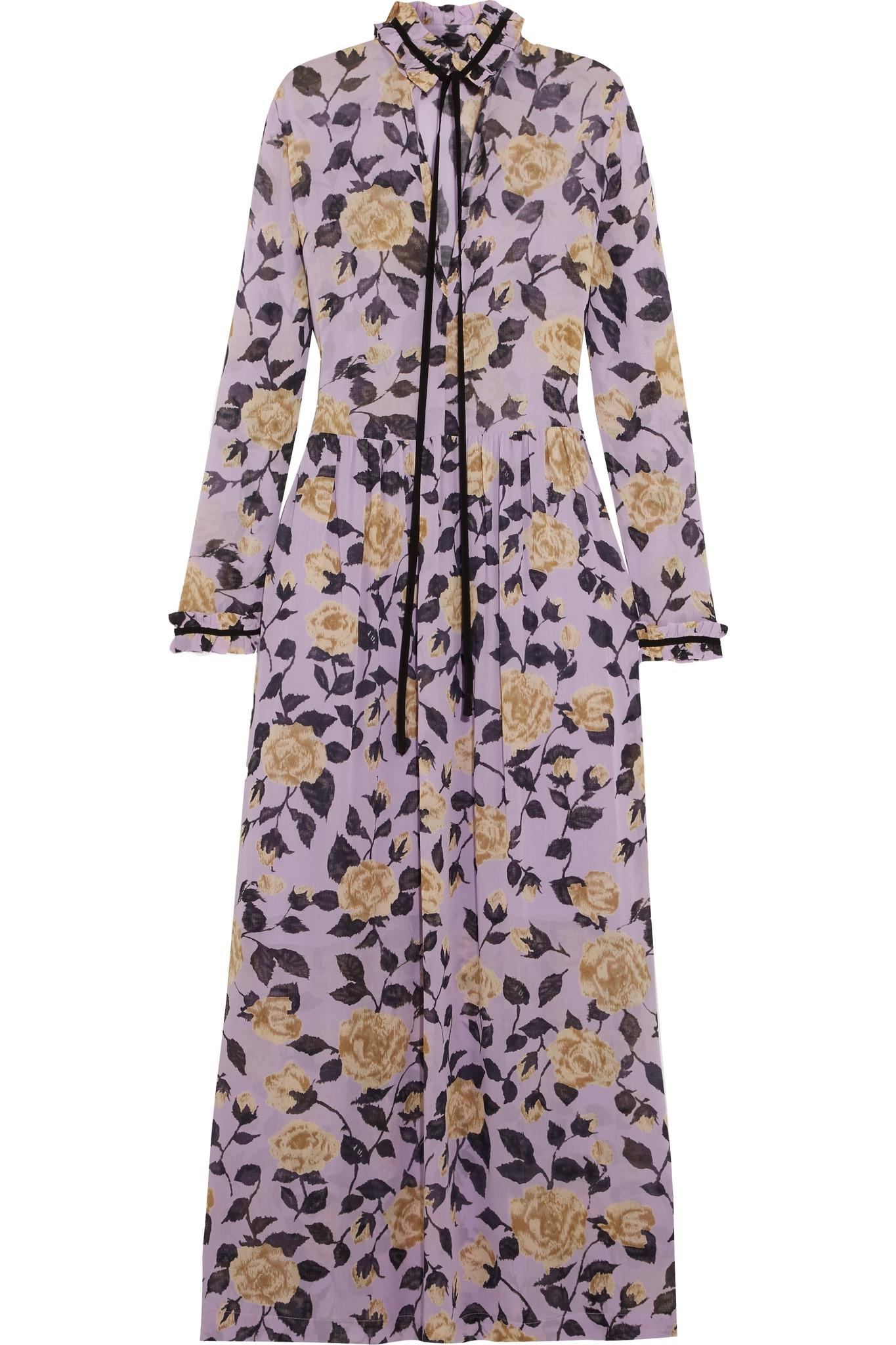 a2c3ba86 Ganni Carlton Pussy-bow Floral-print Georgette Maxi Dress in Purple ...