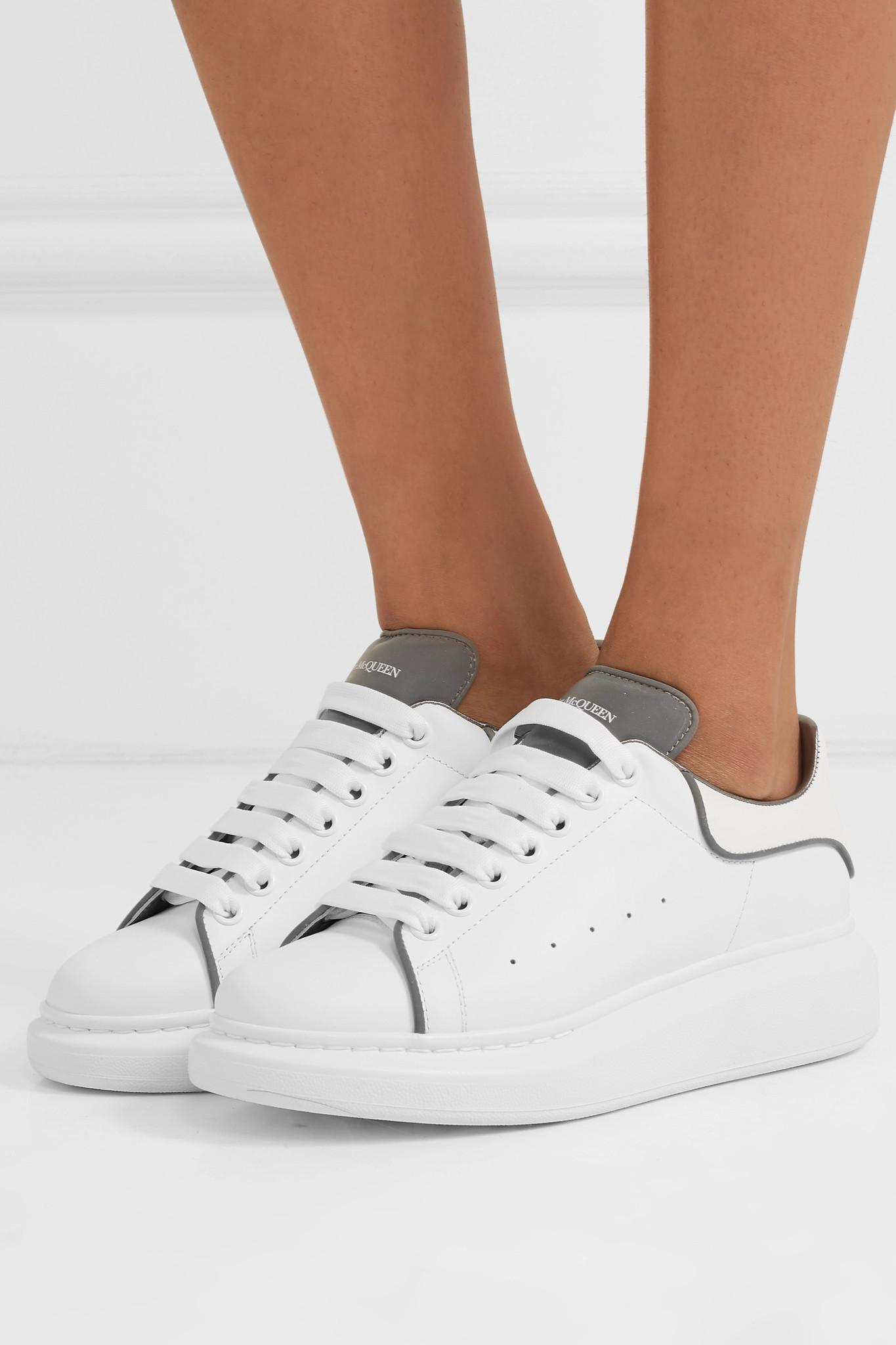724aa4060861e Alexander McQueen - White Reflective-trimmed Leather Exaggerated-sole  Sneakers - Lyst. View fullscreen
