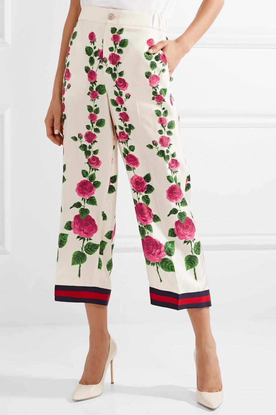 Cropped Grosgrain-trimmed Floral-print Silk-twill Wide-leg Pants - Ecru Gucci aPY4nPC