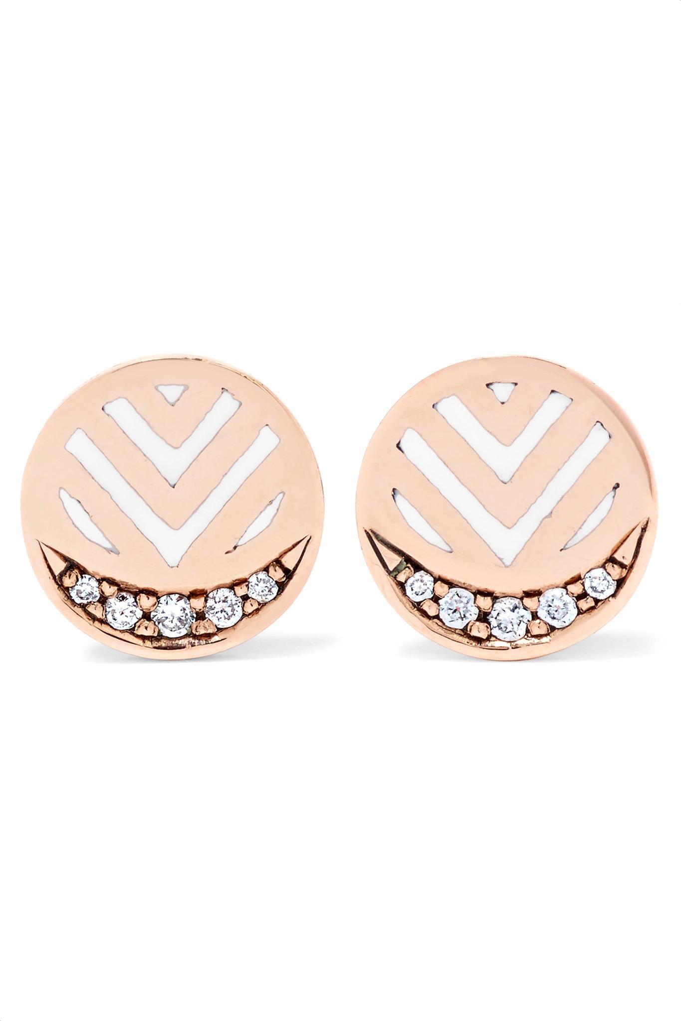 Memphis Chevron 14-karat Gold, Diamond And Enamel Earrings - one size Alice Cicolini