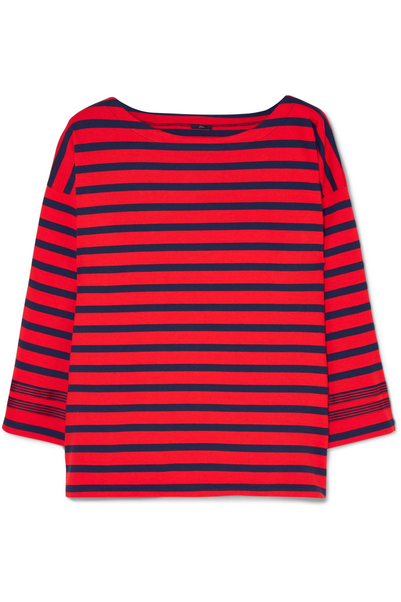 c615188cbadf5 J.Crew Grosgrain-trimmed Striped Cotton-jersey Top in Red - Lyst