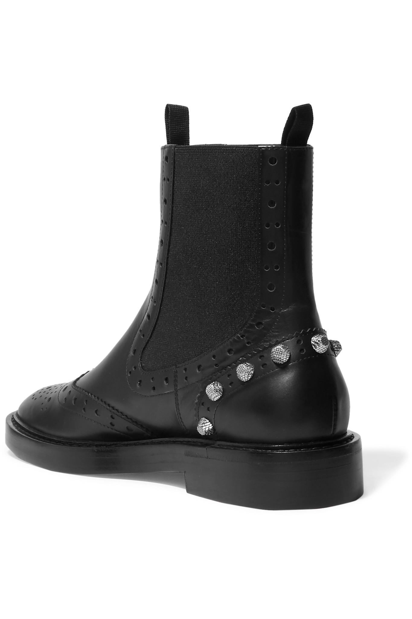3863eb176c5a7 Lyst - Balenciaga Studded Leather Ankle Boots in Black