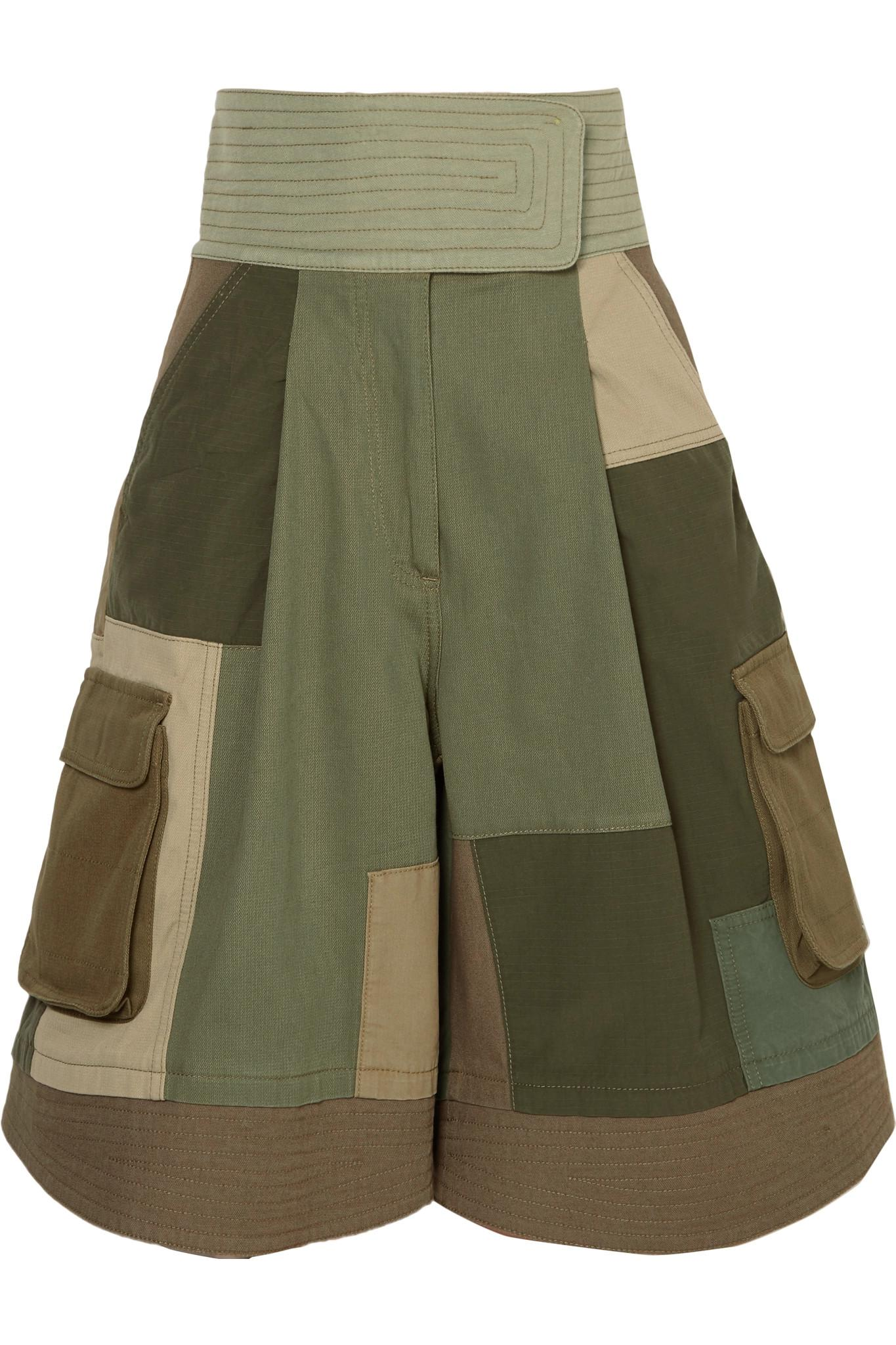 Embellished Cotton-twill Shorts - Army green Valentino