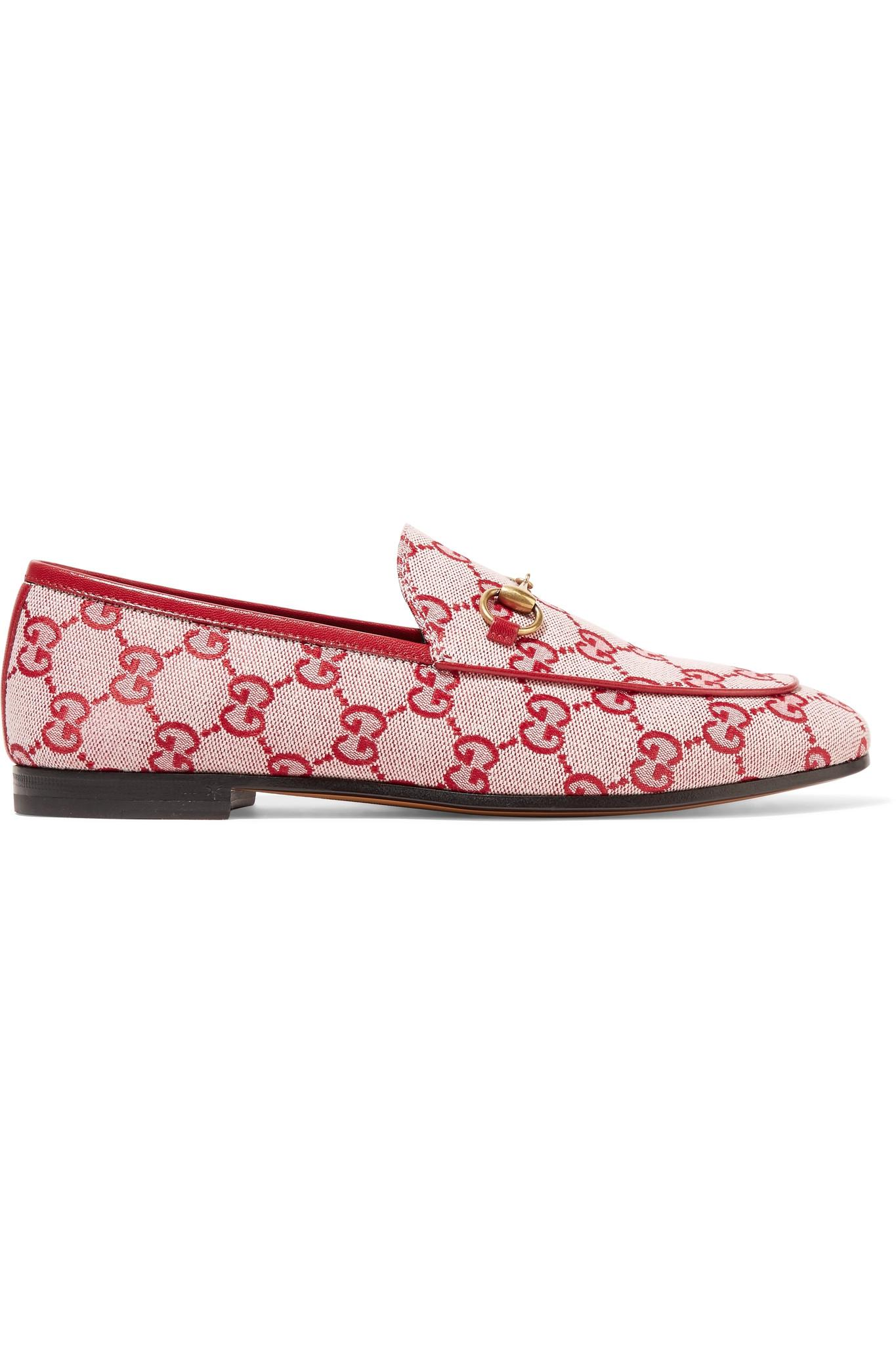 Jordaan Horsebit-detailed Leather-trimmed Logo-printed Canvas Loafers - Red Gucci 4bpo0