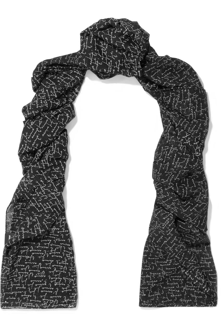 Appliqu??d Wool Scarf - Black Saint Laurent g2L0M4jMRO