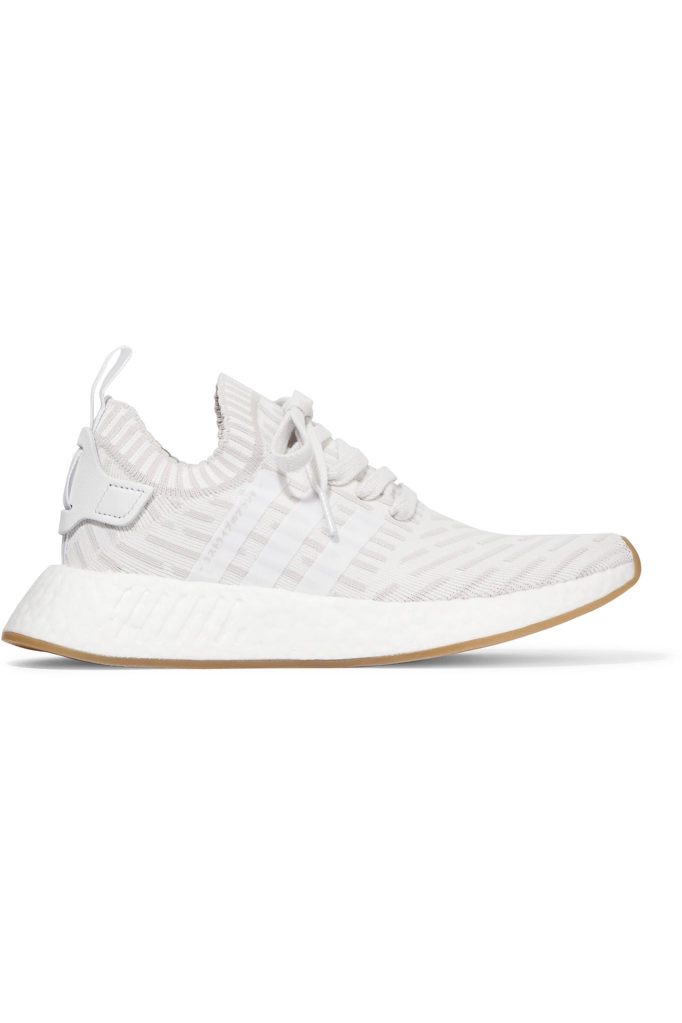 Nmd Baskets Primeknit R2 Garnis De Cuir - Blanc Adidas Originals tiWlTG5