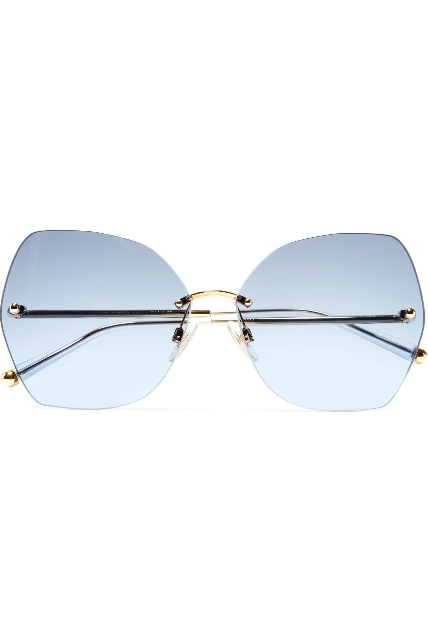 0f1c076af57 Lyst - Dolce   Gabbana Hexagon-frame Gold-tone And Acetate Mirrored ...