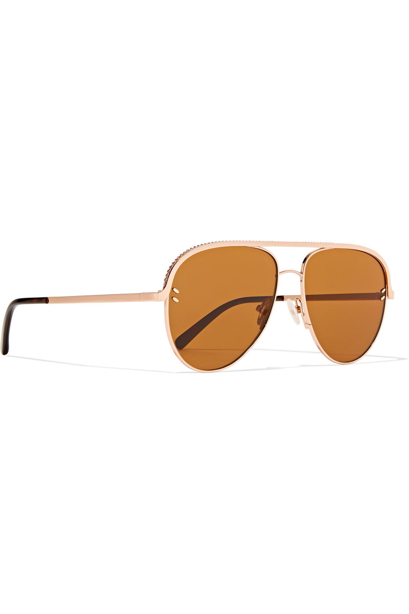 253d2a4ae9c7 Stella McCartney - Pink Aviator-style Rose-gold-tone And Acetate Sunglasses  -. View fullscreen