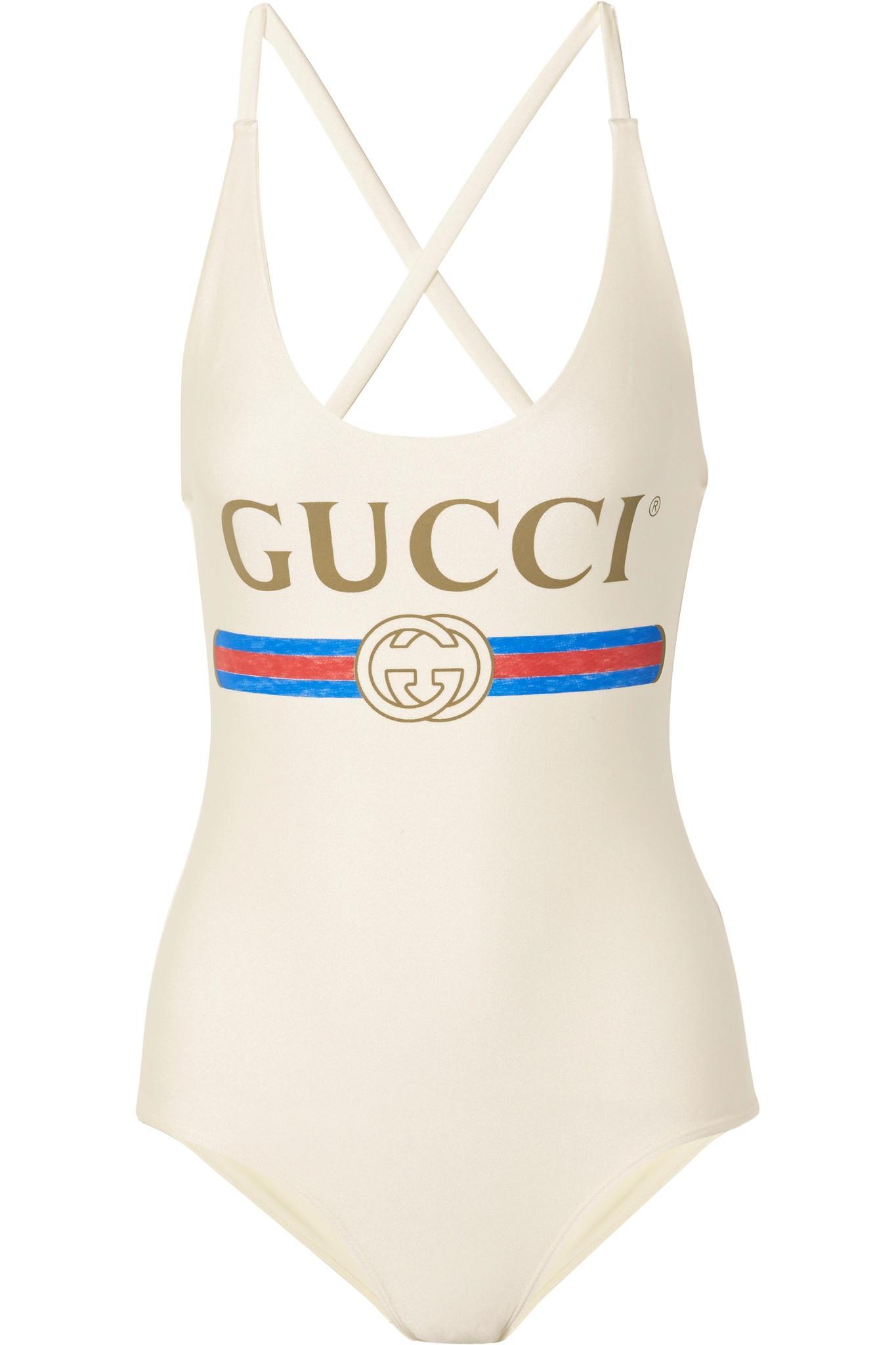 Lyst - Body à imprimé logo Gucci en coloris Blanc 10a23fc33d52