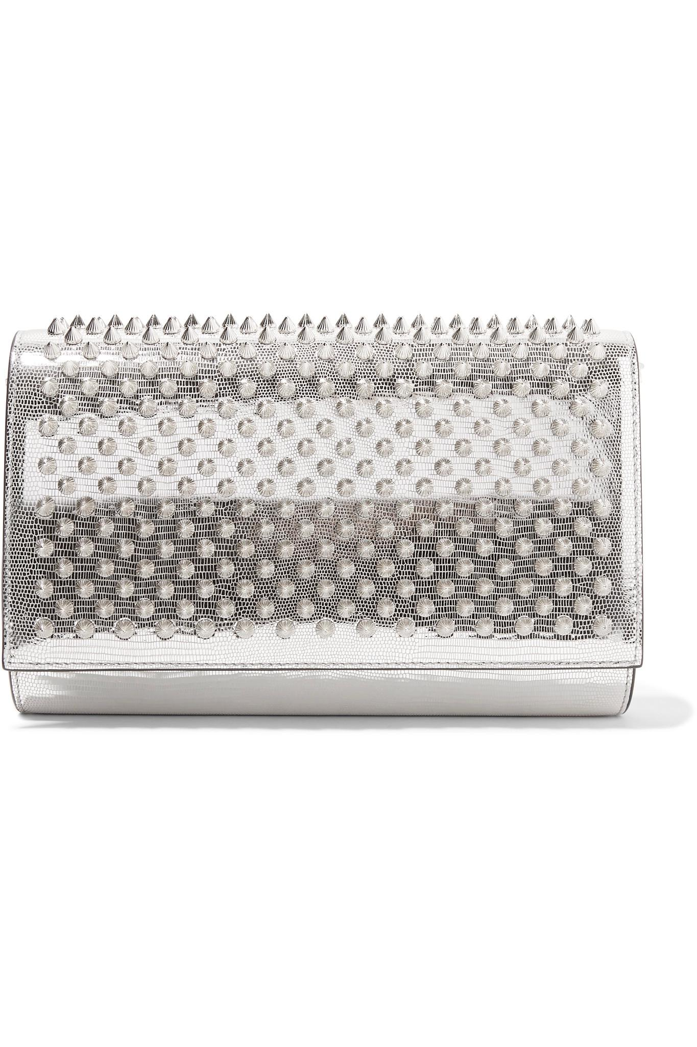 Christian Louboutin Paloma Spiked Metallic Lizard Effect Leather Clutch