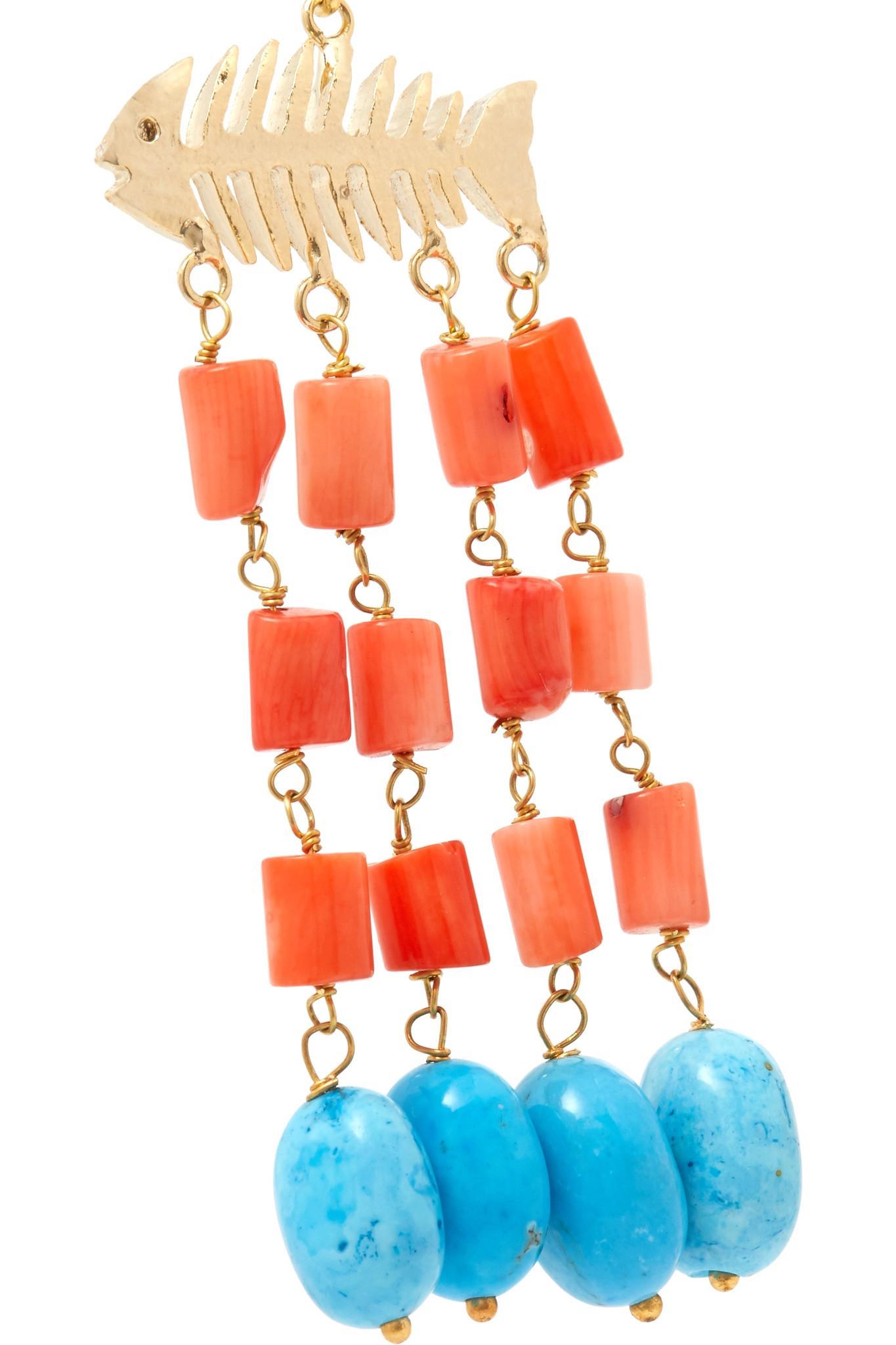 Rosantica Saona Gold-tone Beaded Earrings - Coral t68rID
