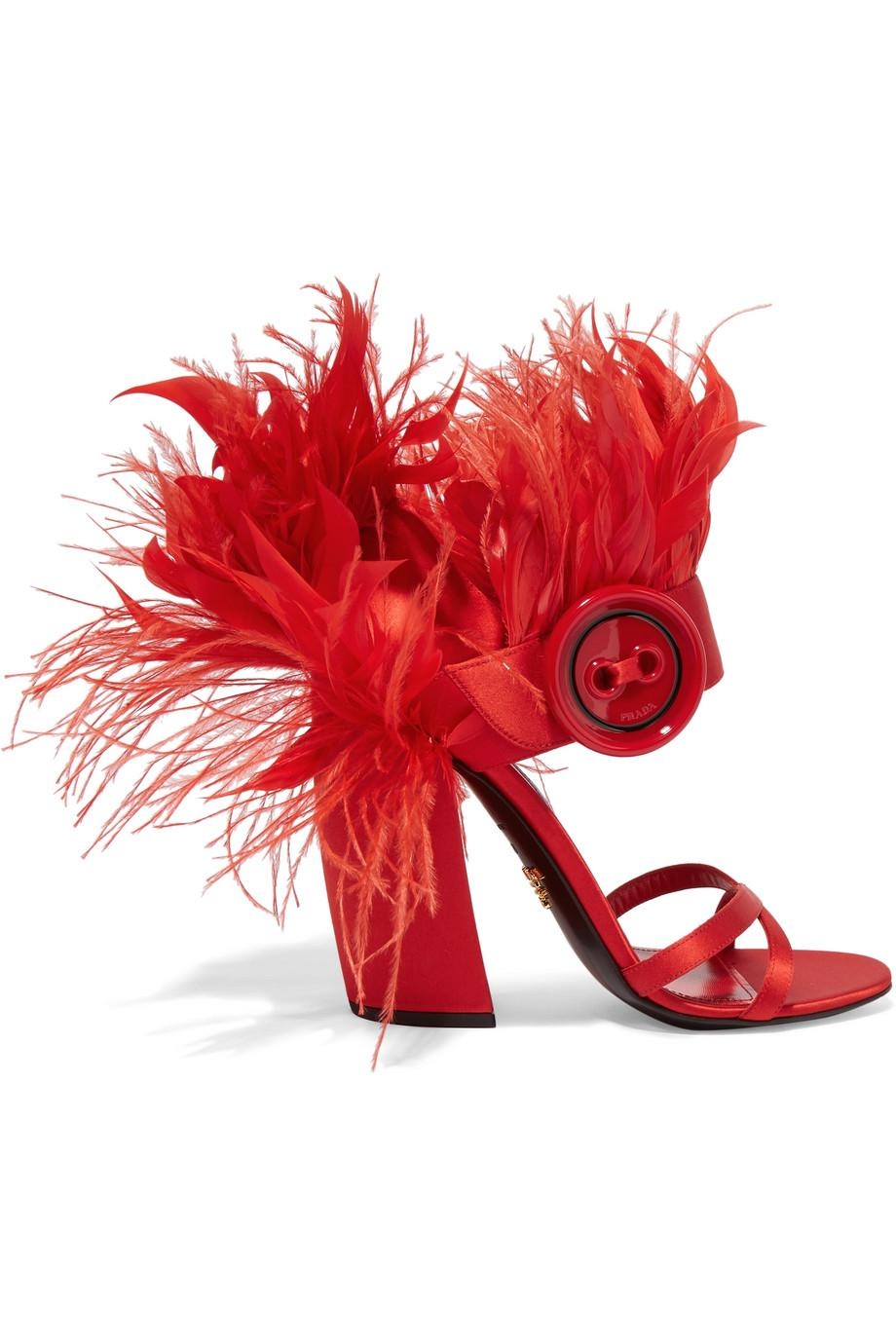 674106c1394 Lyst - Prada Feather-trimmed Satin Sandals in Red