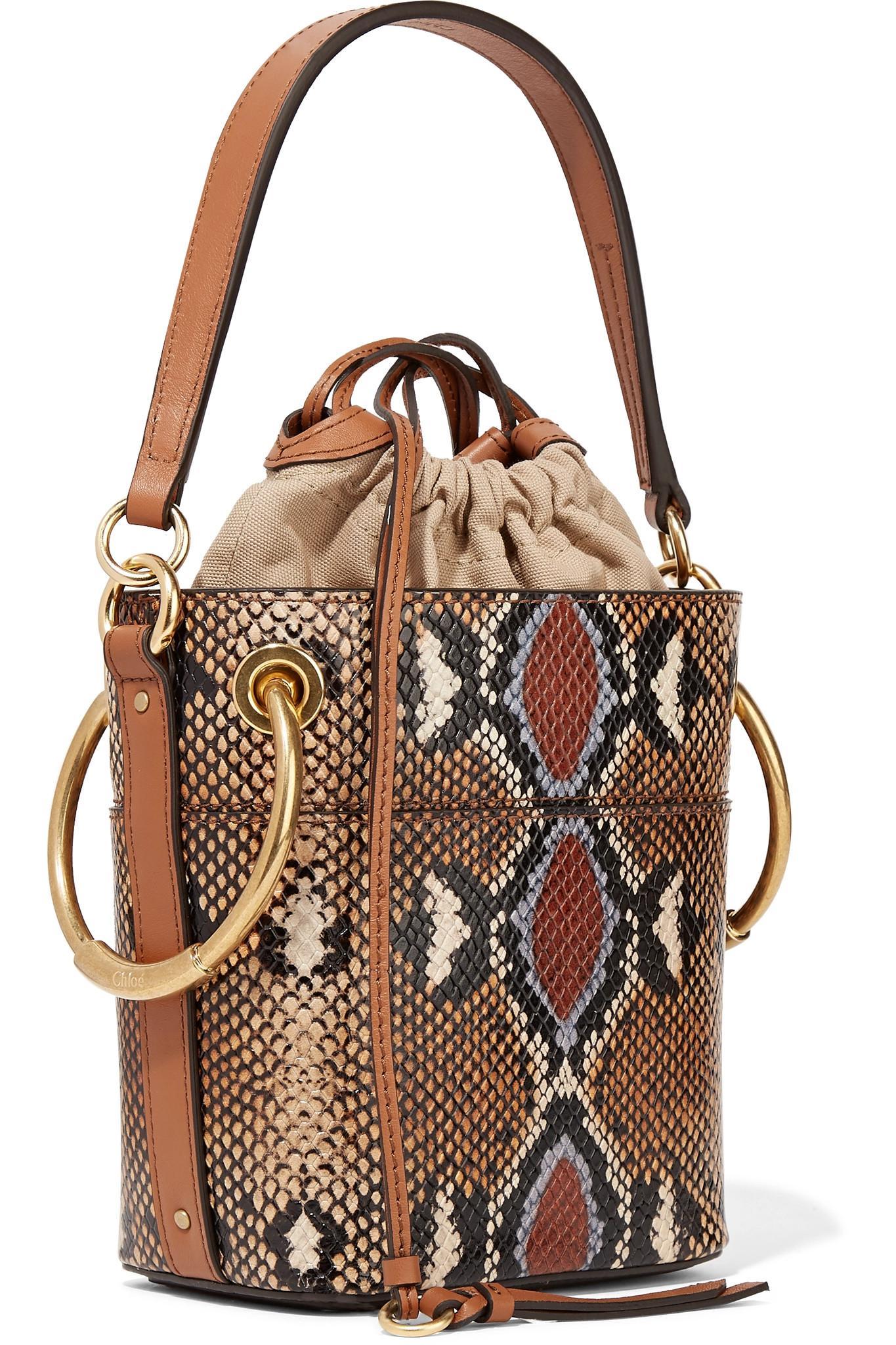 aa2223152c9b Chloé - Brown Roy Mini Snake-effect Leather Bucket Bag - Lyst. View  fullscreen
