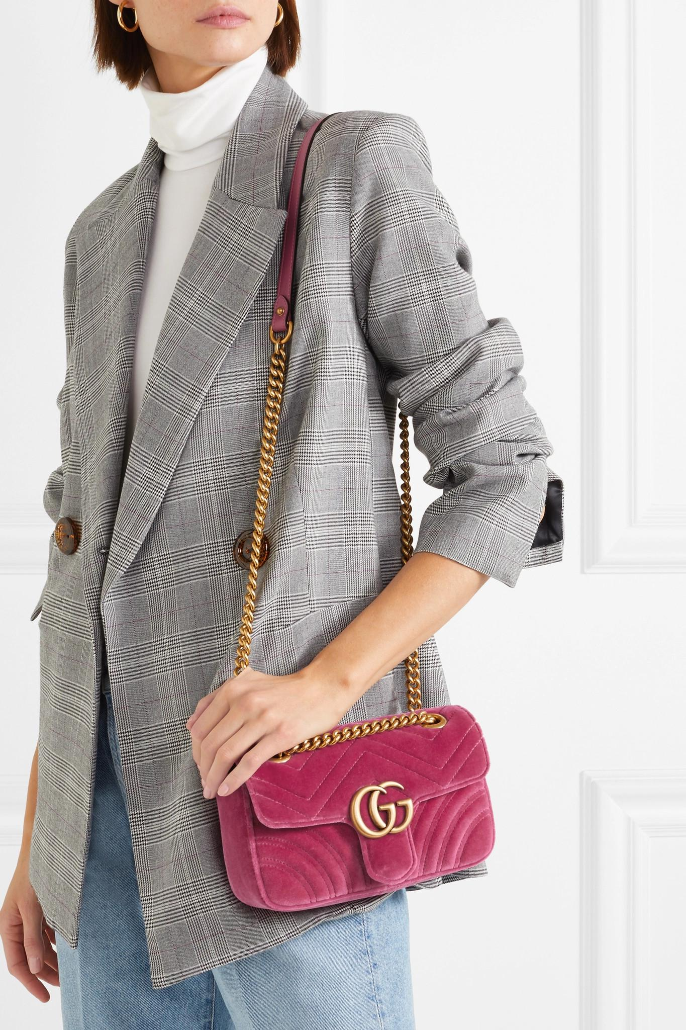 5182f22f1a3c72 ... Gg Marmont Mini Quilted Velvet Shoulder Bag - Lyst. View fullscreen