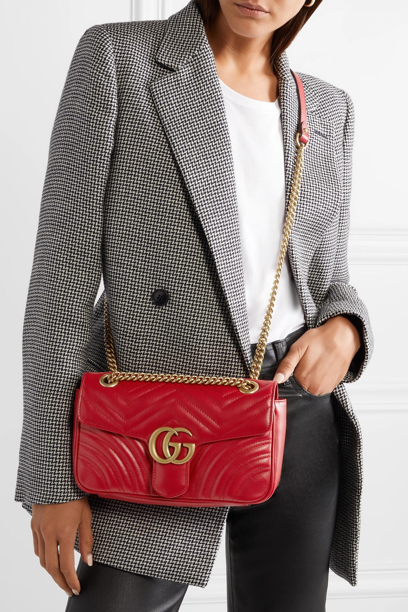 1eab4ae6416 Gucci - Red Small Gg Marmont 2.0 Matelassé Leather Shoulder Bag - Lyst.  View fullscreen