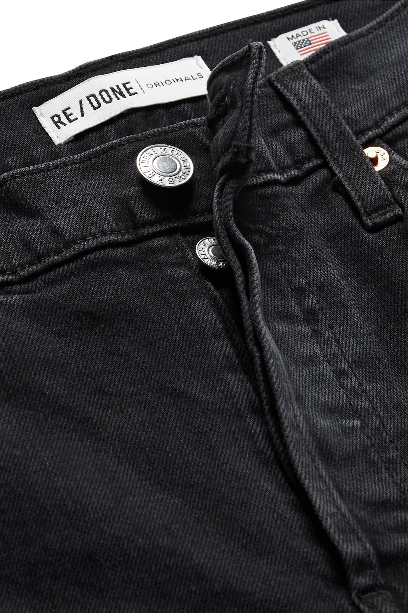 6635b87f1e23e Re done - Black Double Needle Long Frayed High-rise Slim-leg Jeans. View  fullscreen