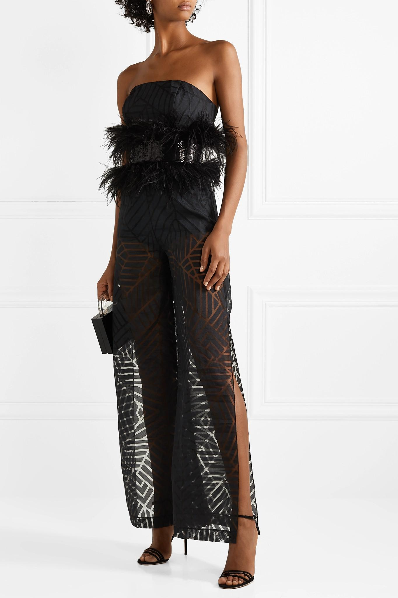 53924ade330c SemSem - Black Feather And Sequin-embellished Devoré-organza Jumpsuit -  Lyst. View fullscreen