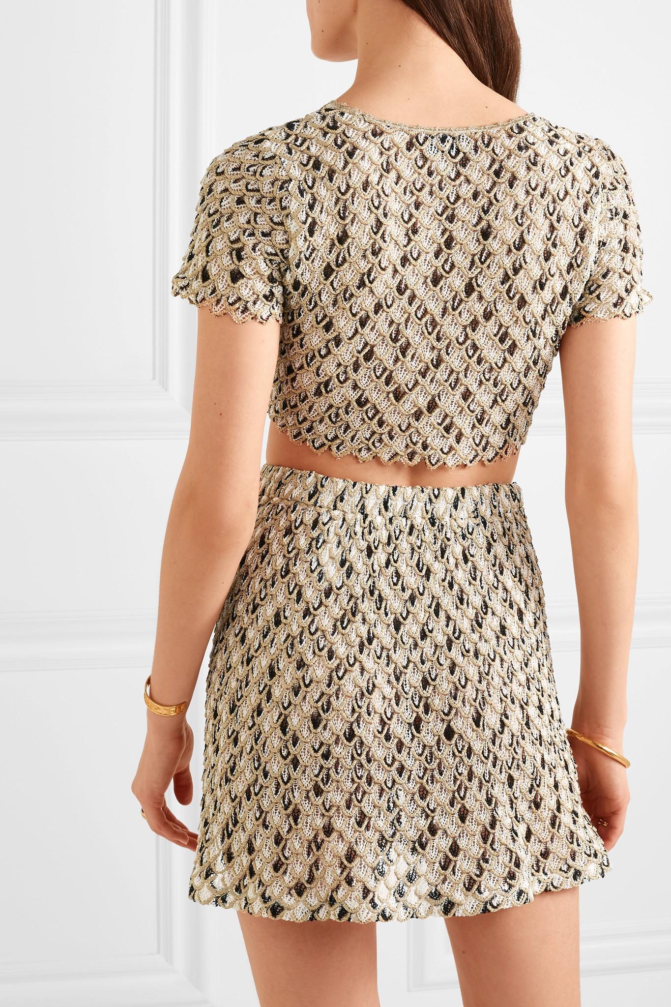 2d4d154e73c338 Lyst - Missoni Cropped Metallic Crochet-knit Top in Metallic