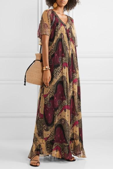 Robe Longue En Mousseline Froissée Imprimée Savannah Mousseline de soie Mes Demoiselles en coloris Marron
