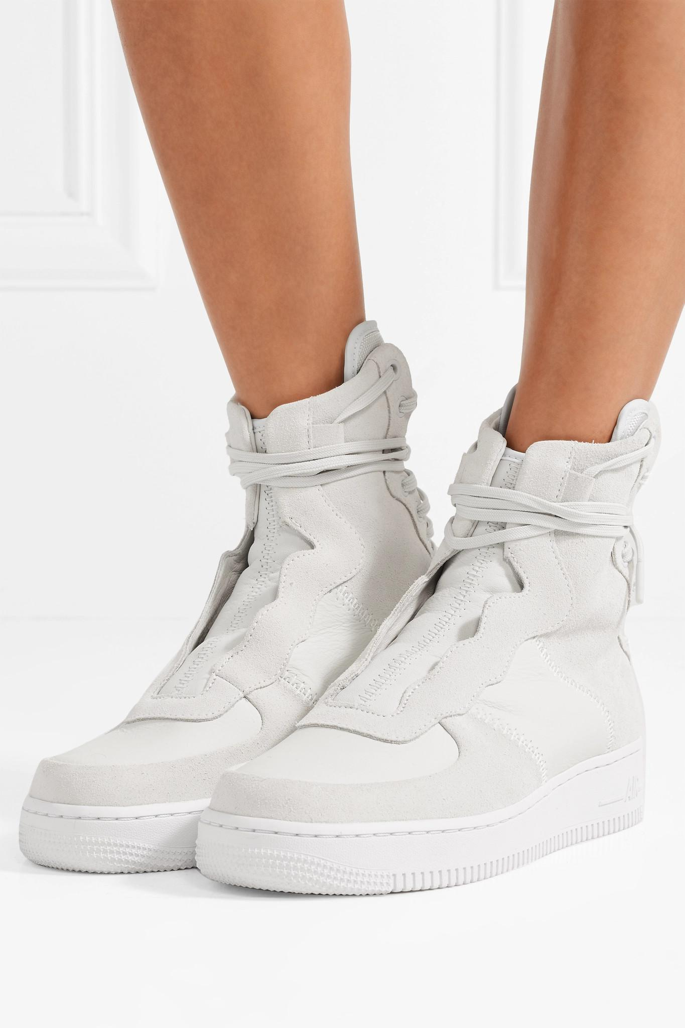 info for 7707d 7c4c3 Women's White The 1's Reimagined Air Force 1 Rebel Xx Suede And Leather  High-top Sneakers