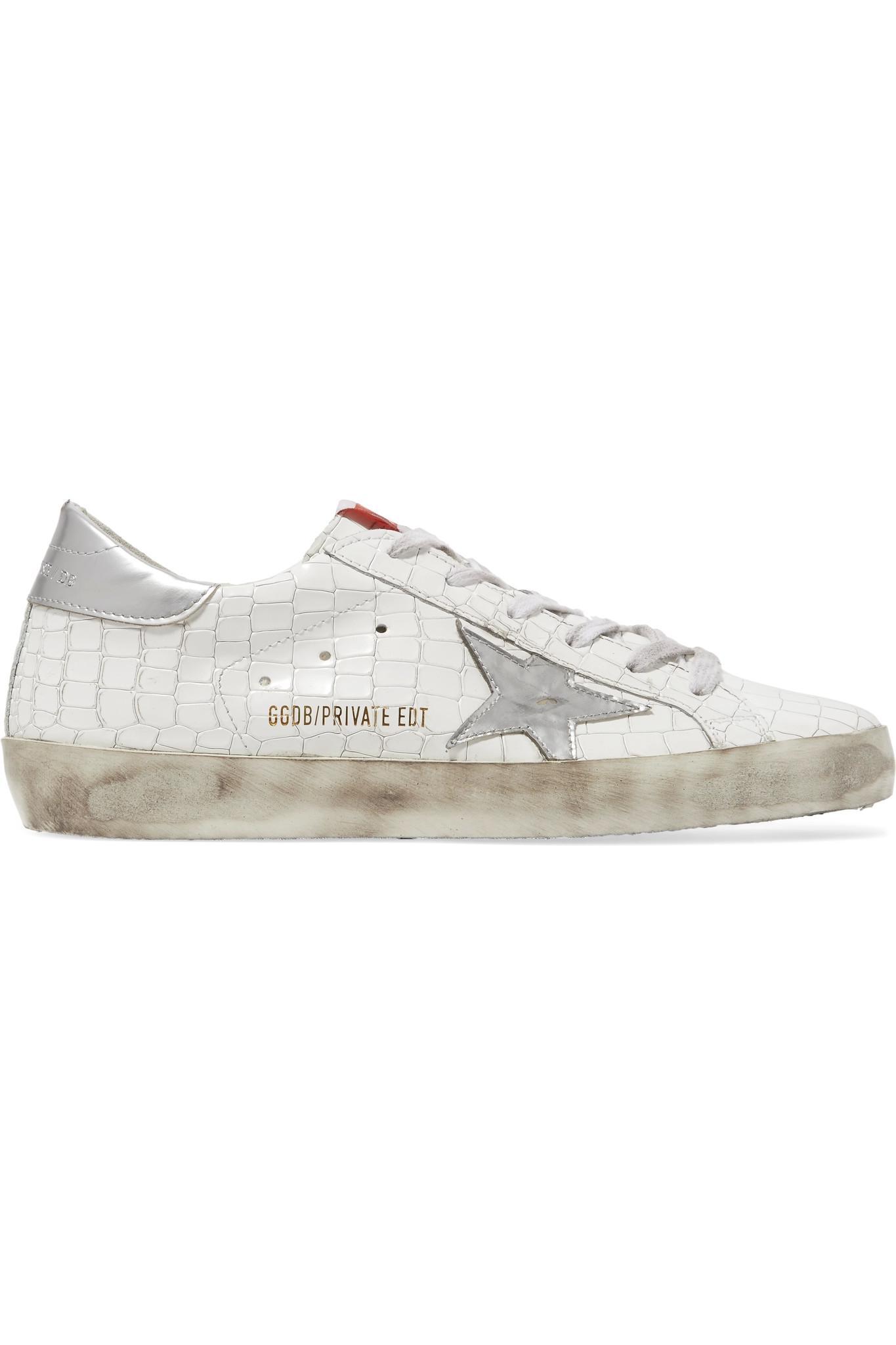 Golden Goose White Croc Superstar Sneakers NHoSyU99zX