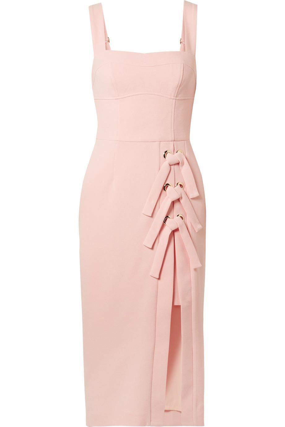 Celestina Lace-up Crepe Midi Dress - Pink Rebecca Vallance vvEMFu