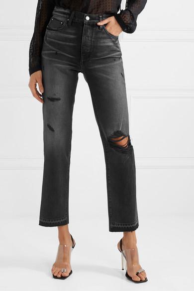 Amiri Denim Verkürzte, Hoch Sitzende Distressed-jeans Mit Geradem Bein Und Lederbesatz in Schwarz  mfvEz