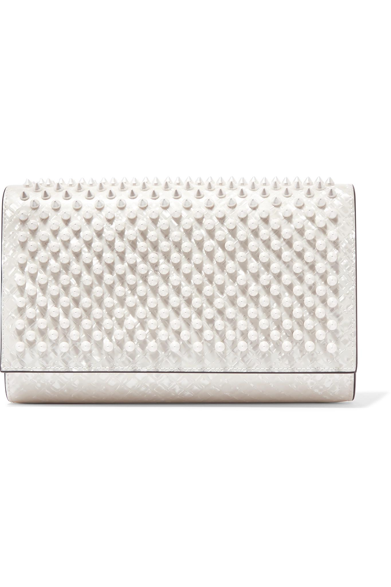 7dd1f0e024 Christian Louboutin Paloma Spiked Patent-leather Clutch in White - Lyst