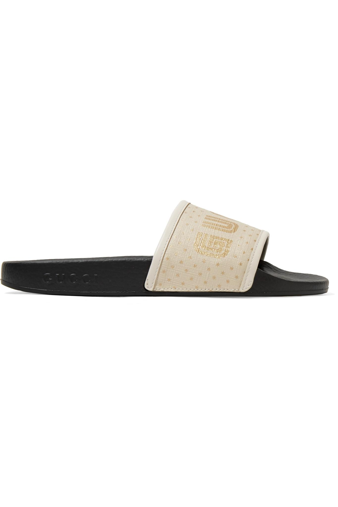 ad4e91f6a8 Lyst - Gucci Pursuit Leather-trimmed Logo-print Canvas Slides in Black