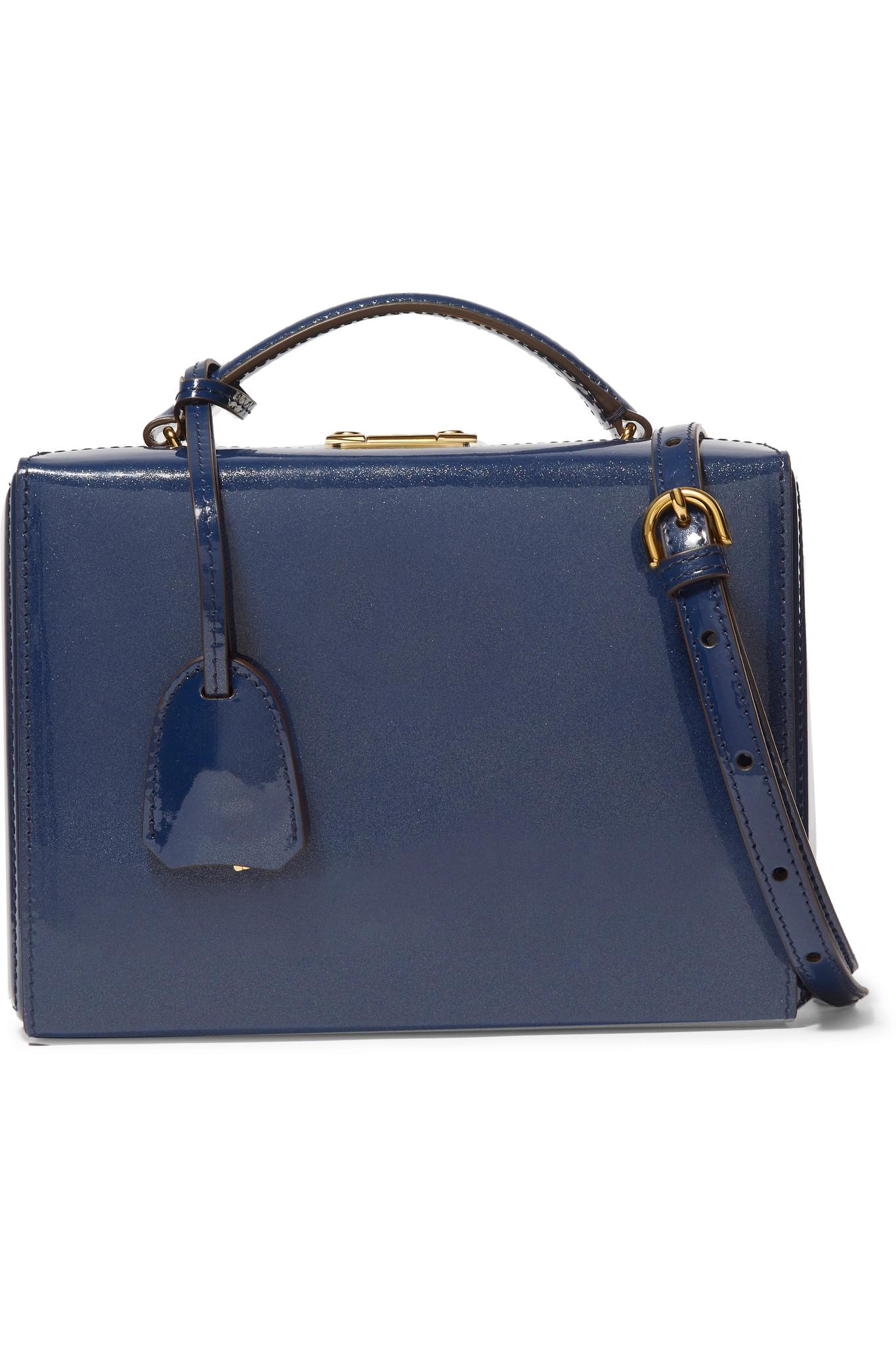 4e94e7084d Lyst - Mark Cross Grace Small Patent-leather Shoulder Bag in Blue