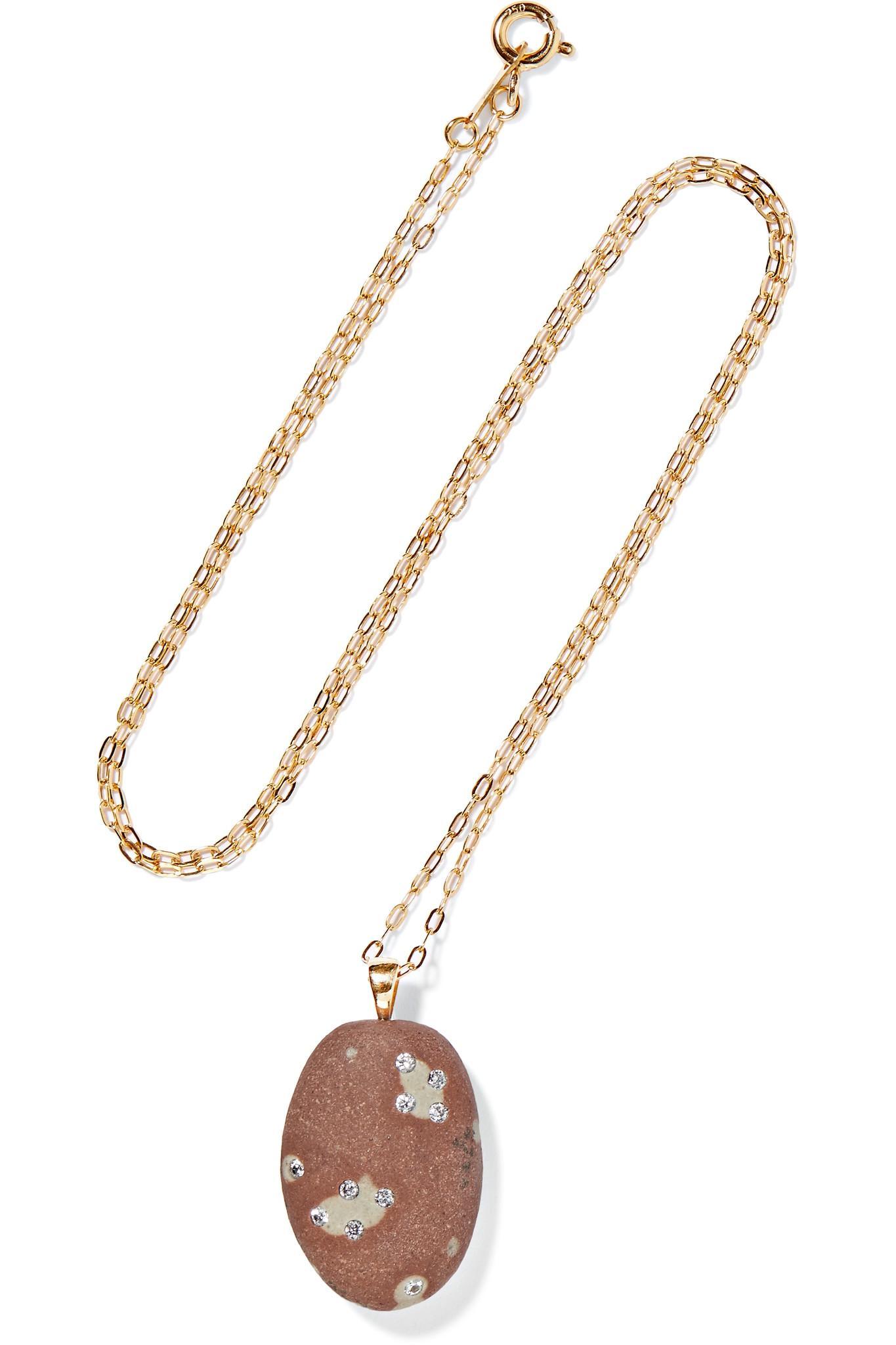 CVC Elio 18-karat Gold, Stone And Diamond Necklace