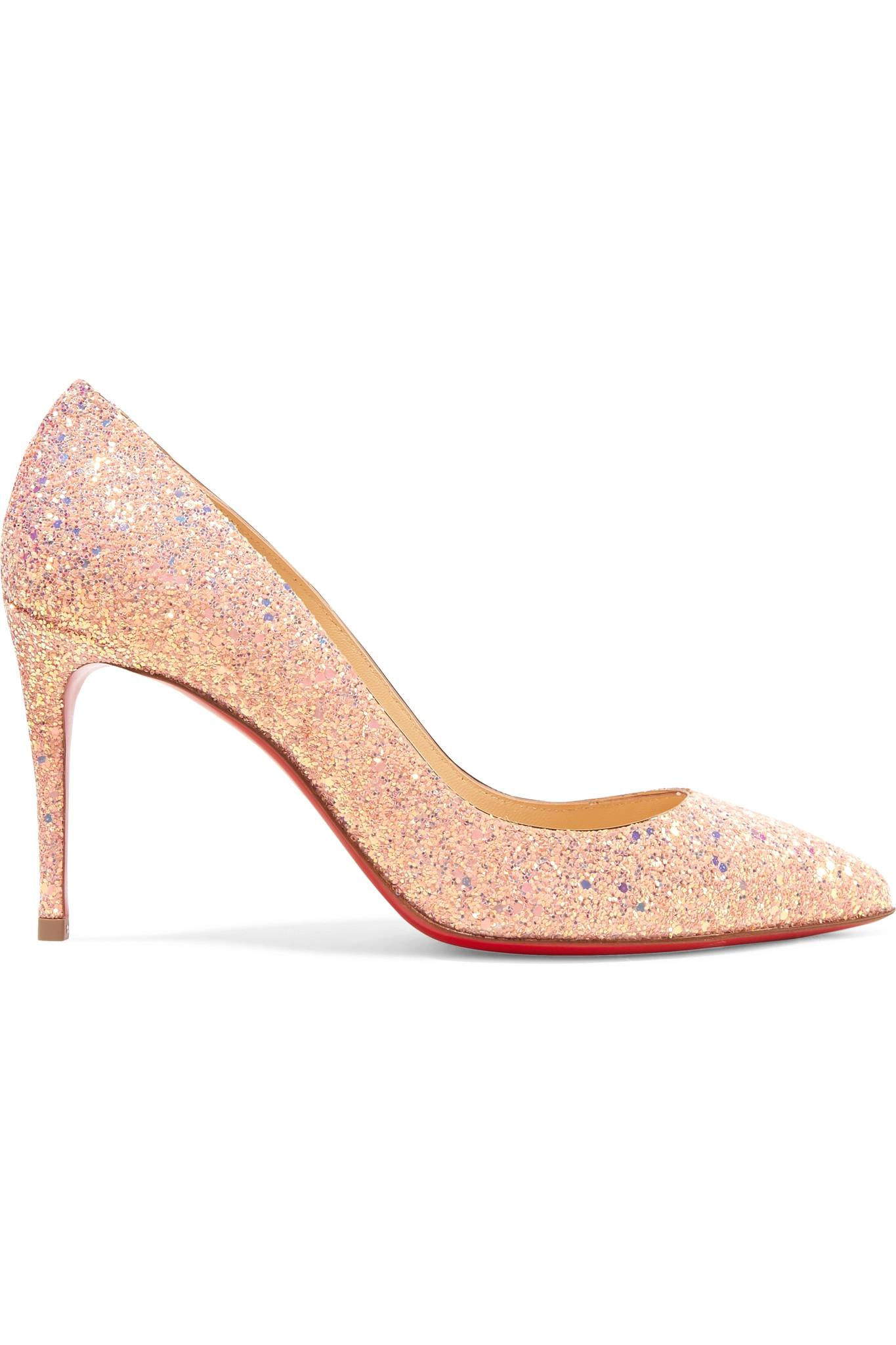 ade4070677e8 Christian Louboutin. Women s Pink Pigalle Follies 85 Glittered Leather Pumps