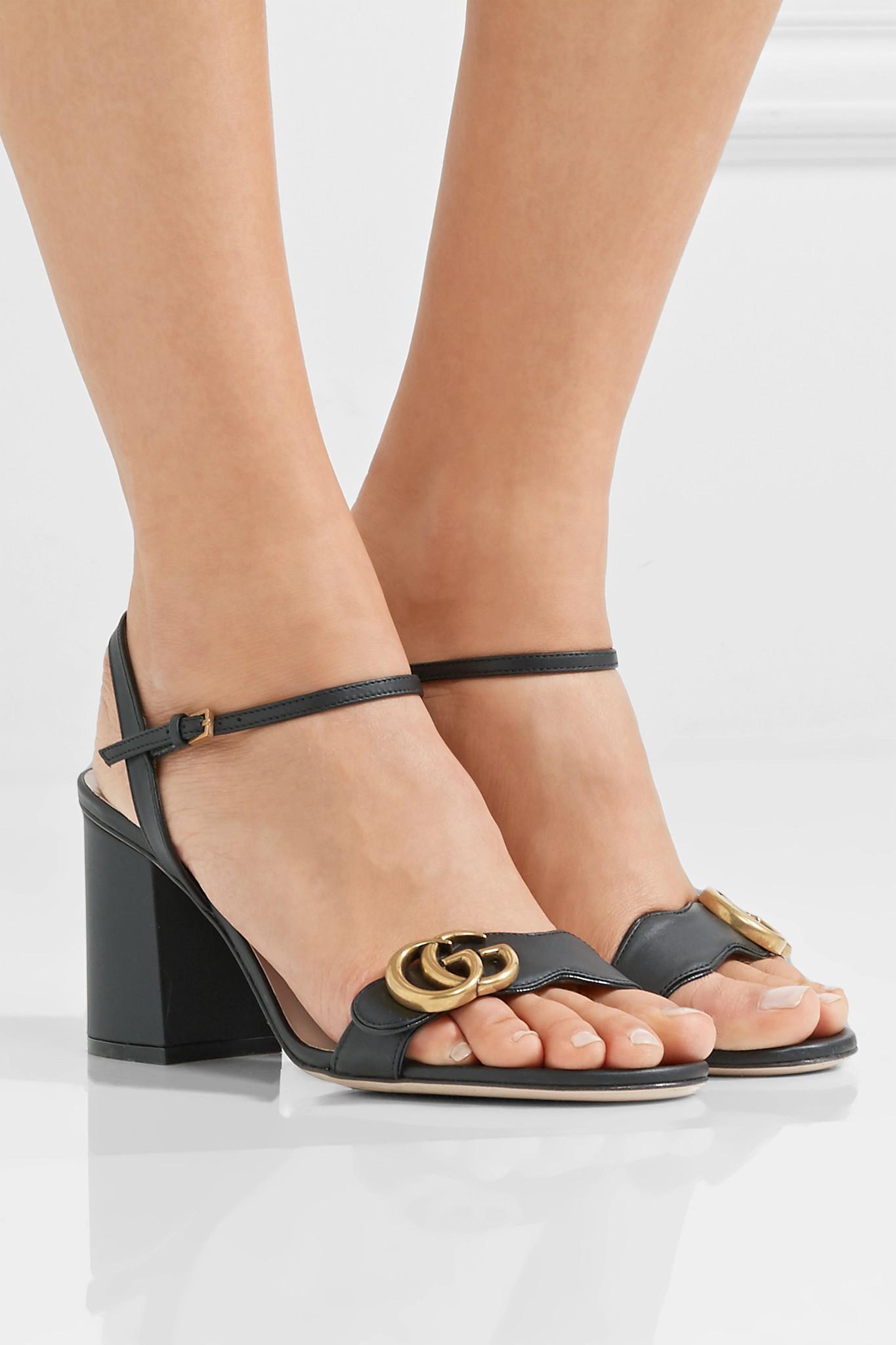 f5879bd49ef7 Lyst - Gucci Marmont Embellished Leather Sandals in Black - Save 1%