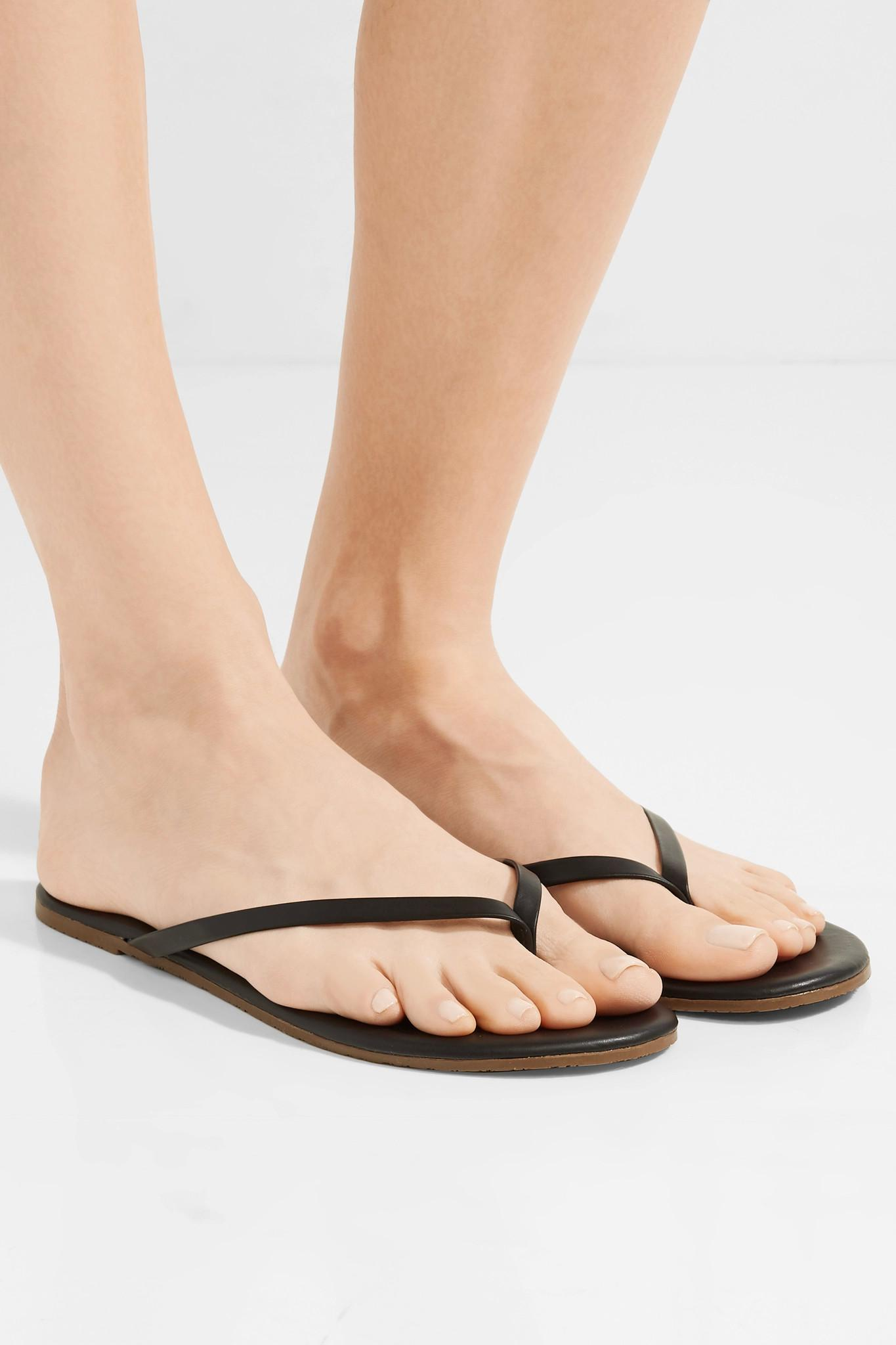 493949a65a859e TKEES - Black Lily Matte-leather Flip Flop - Lyst. View fullscreen