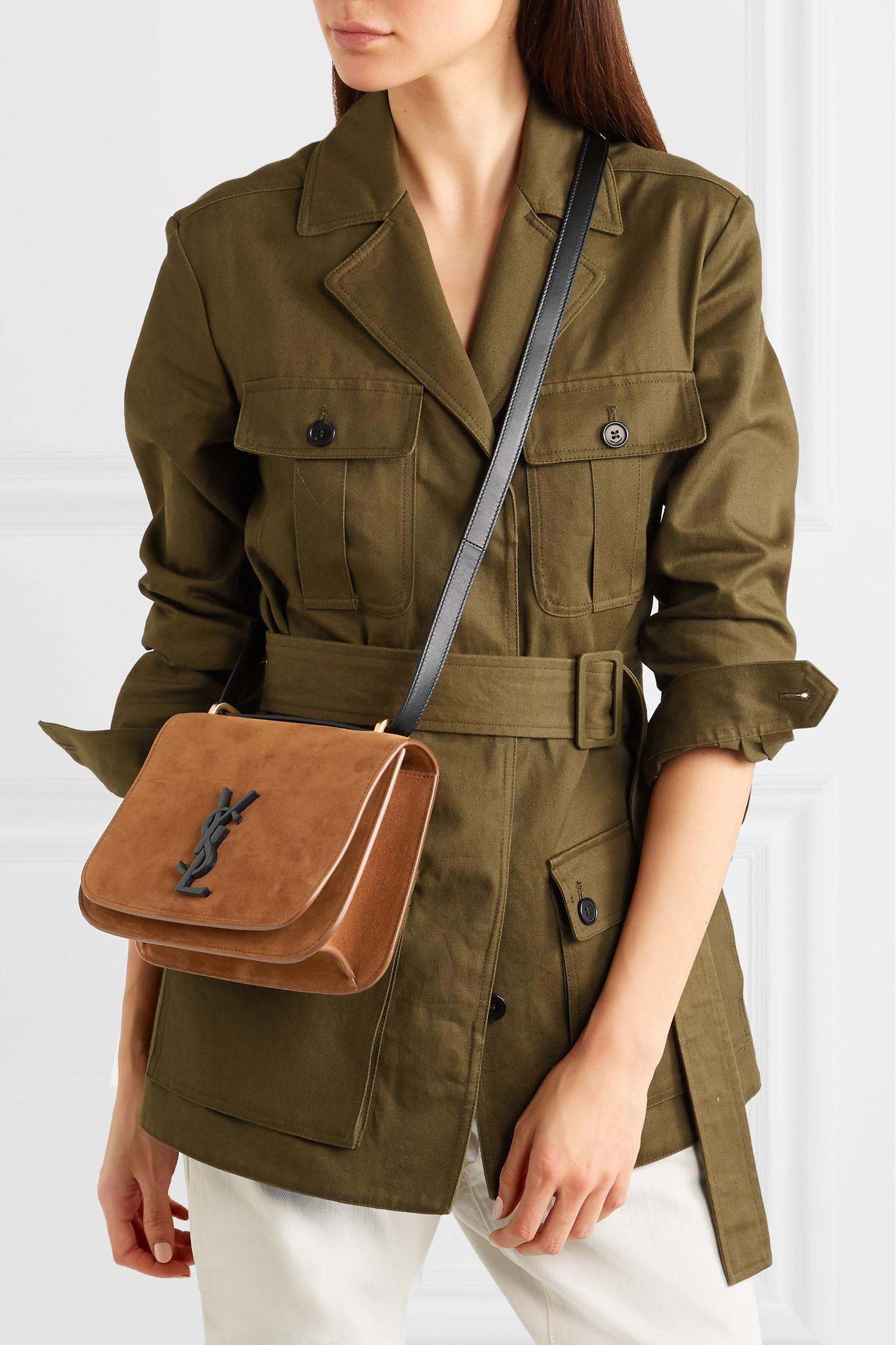 316b1be32d Lyst - Saint Laurent Spontini Leather-trimmed Suede Shoulder Bag
