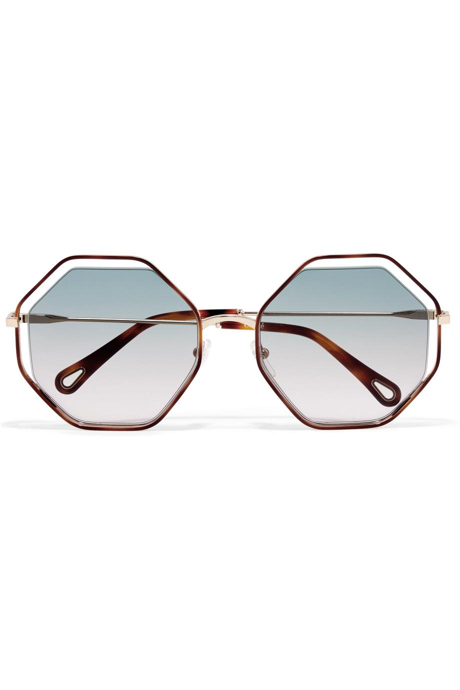 a1a678a0eaa Lyst - Chloé Poppy Octagon-frame Acetate And Gold-tone Sunglasses in ...
