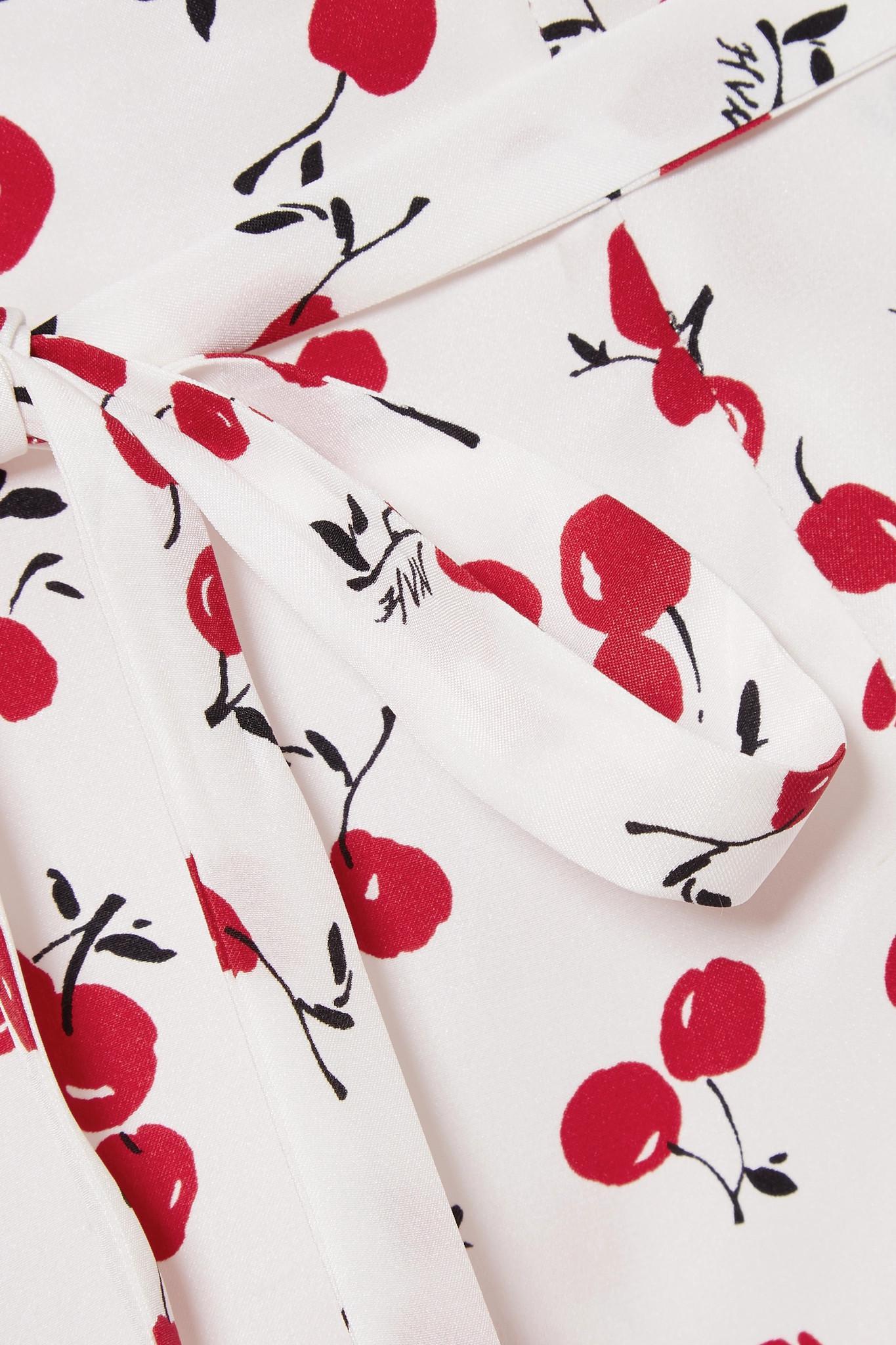 d6cd8c7b2898 HVN Lily Printed Silk Crepe De Chine Mini Dress in White - Lyst