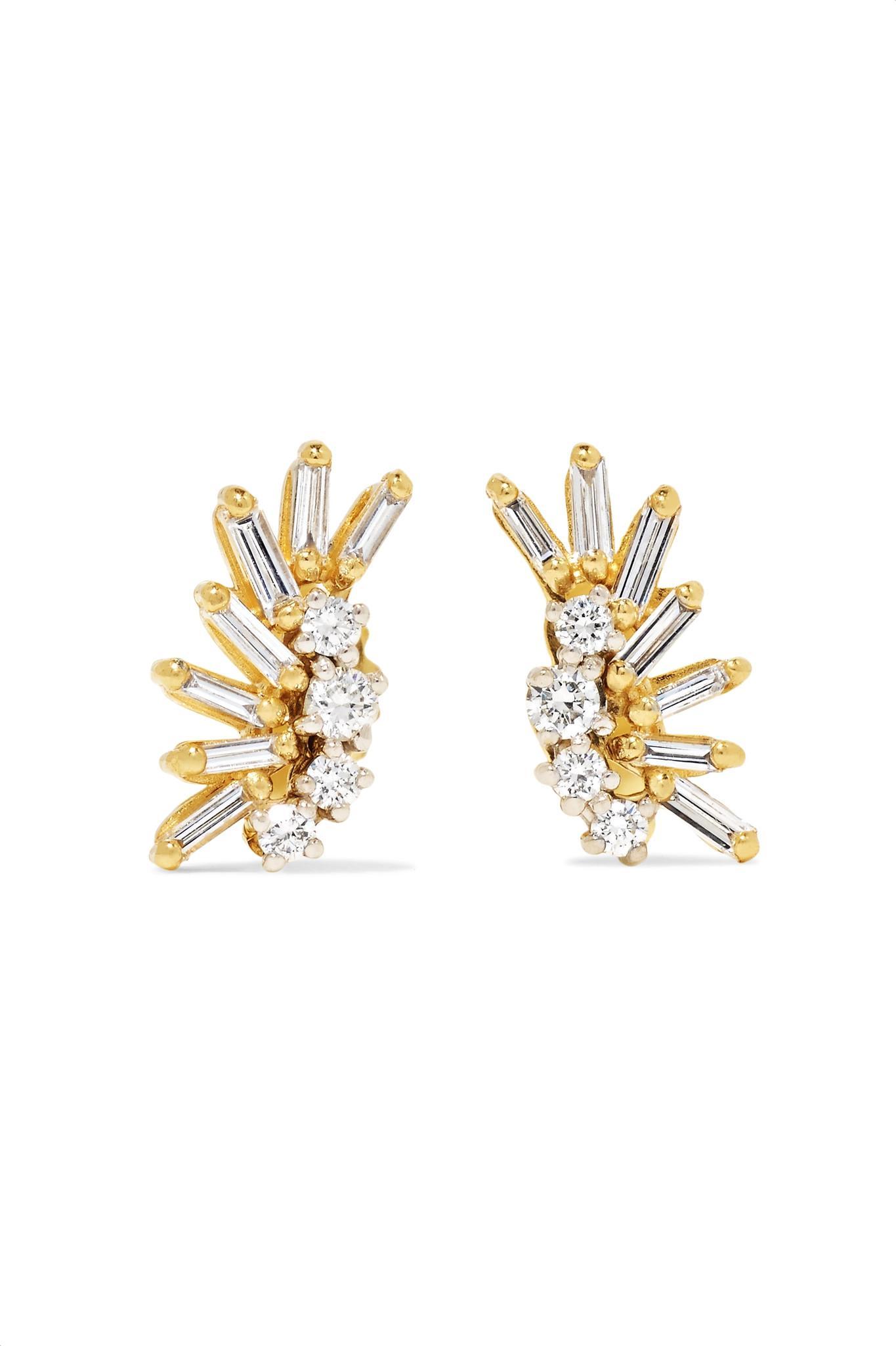 Suzanne Kalan 18-karat Gold Diamond Earrings EuIQJa