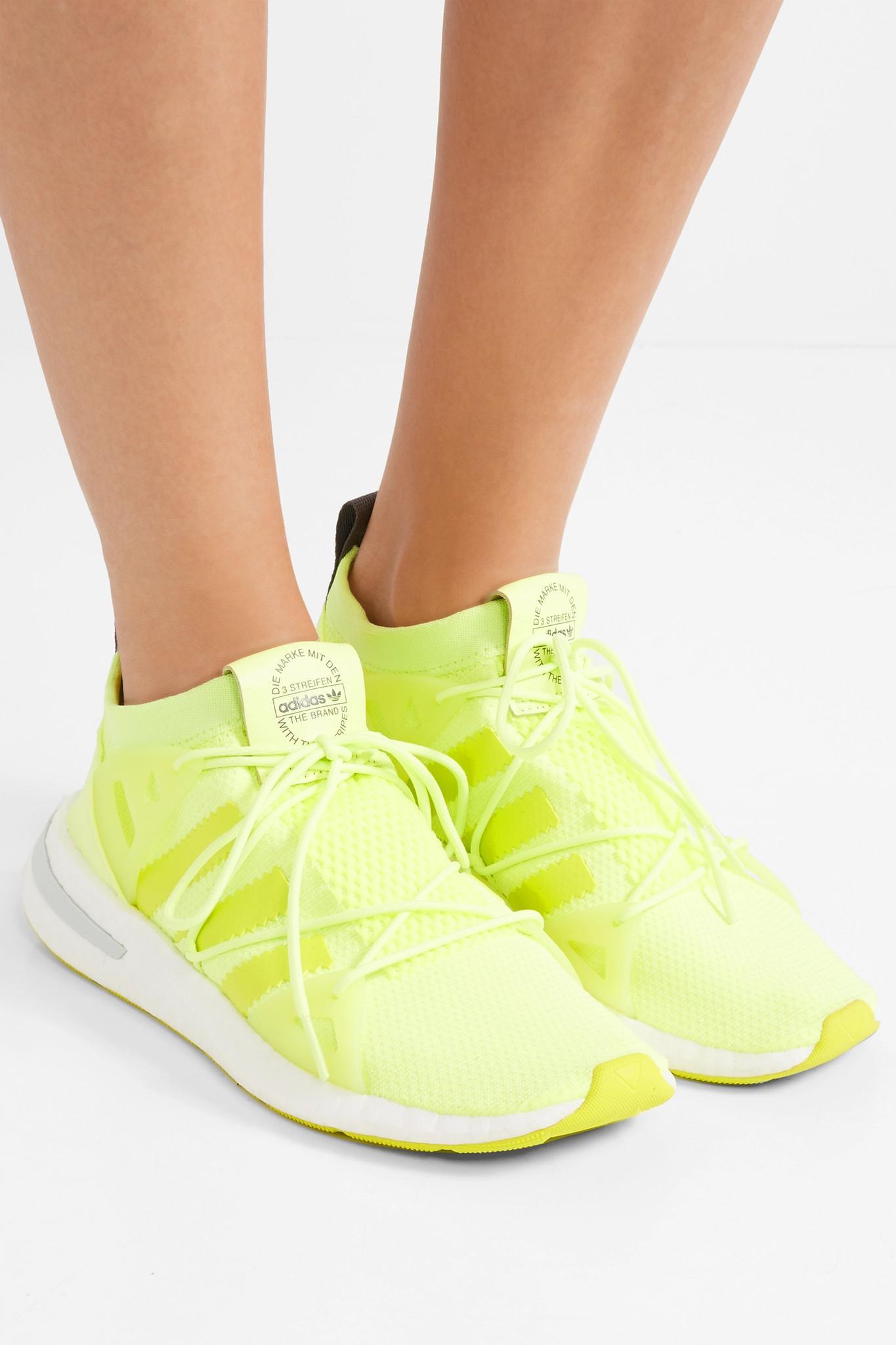 b54f8c2665c1 Adidas Originals - Yellow Arkyn Rubber-trimmed Neon Mesh Sneakers - Lyst.  View fullscreen
