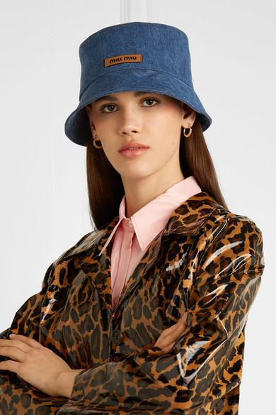 8df9ca45e Miu Miu Blue Denim Bucket Hat