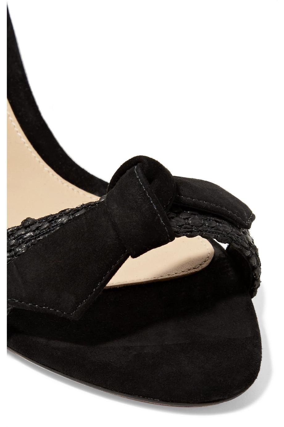 Clarita Bow-embellished Suede And Raffia Espadrille Wedge Sandals - Black Alexandre Birman np5BMhdM