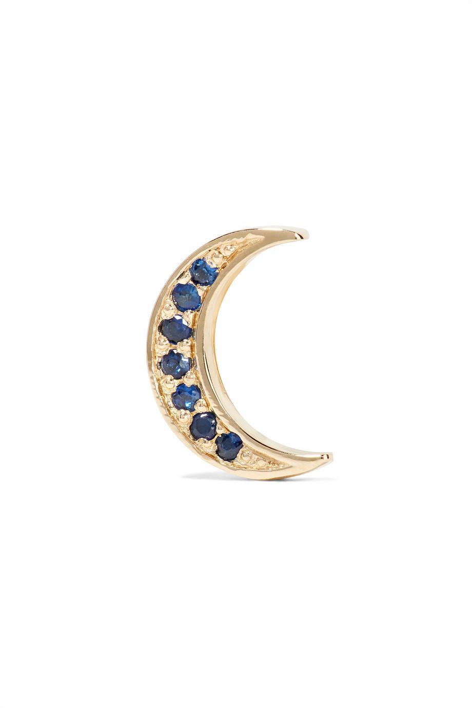 Andrea Fohrman Mini Crescent 14-karat Gold Sapphire Earring vYj8rive