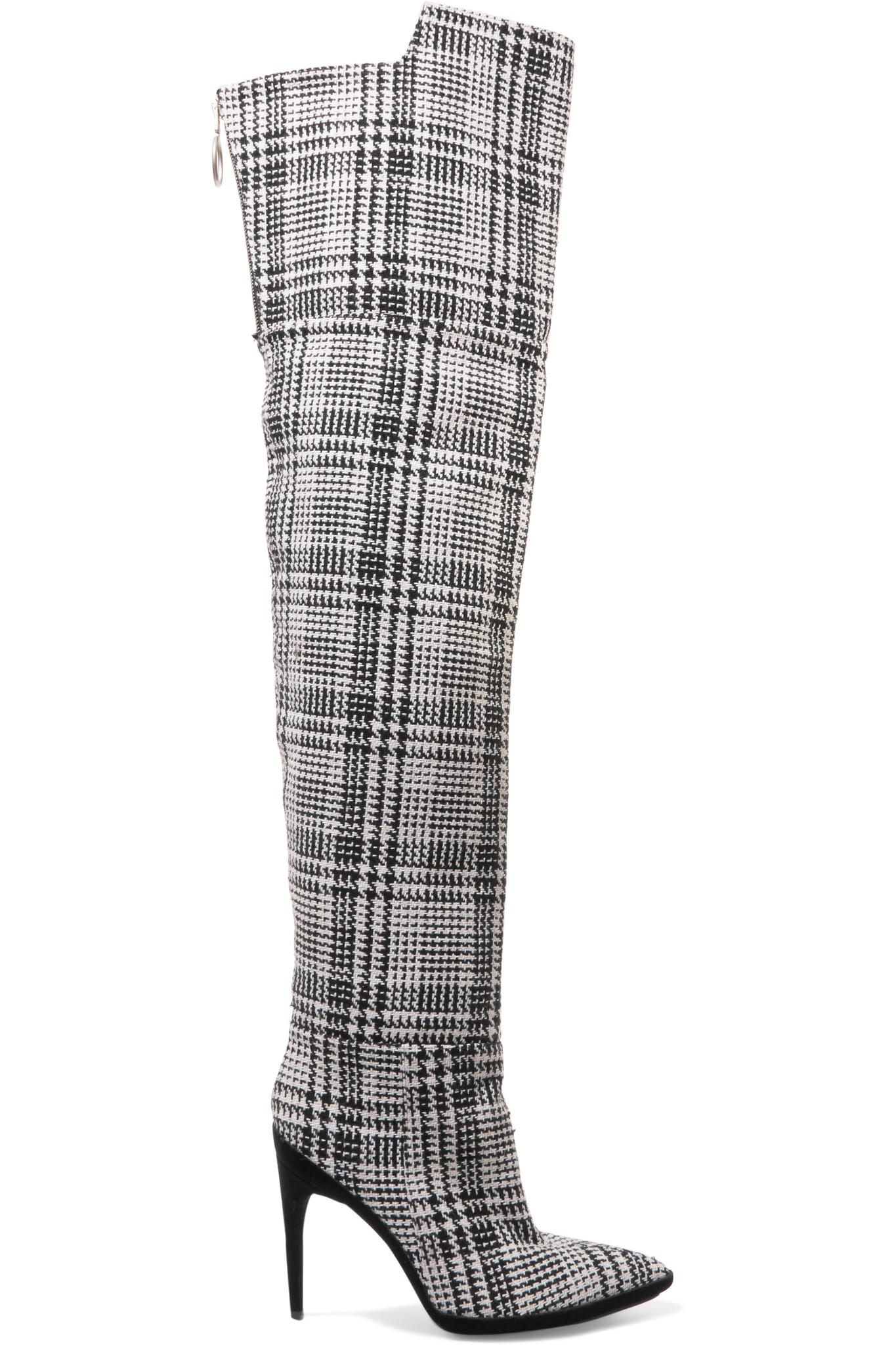 Off-White c/o Virgil Abloh 2017 Tartan Plaid Over-The-Knee Boots cheap sale very cheap best store to get sale online low shipping cheap online AwTBu09OJ