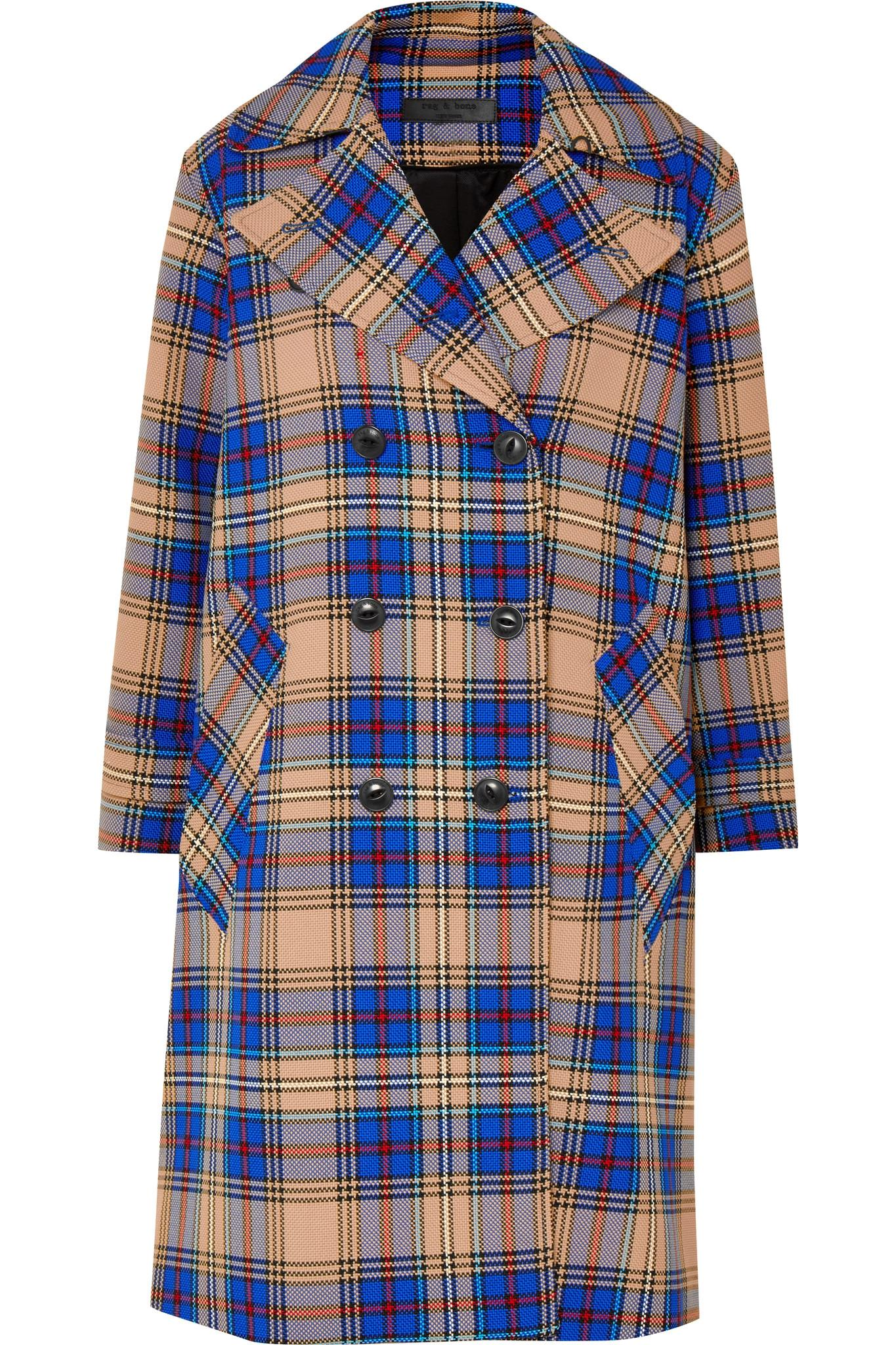 Lyst - Rag   Bone Ace Oversized Plaid Woven Trench Coat in Blue 45eb75980ac