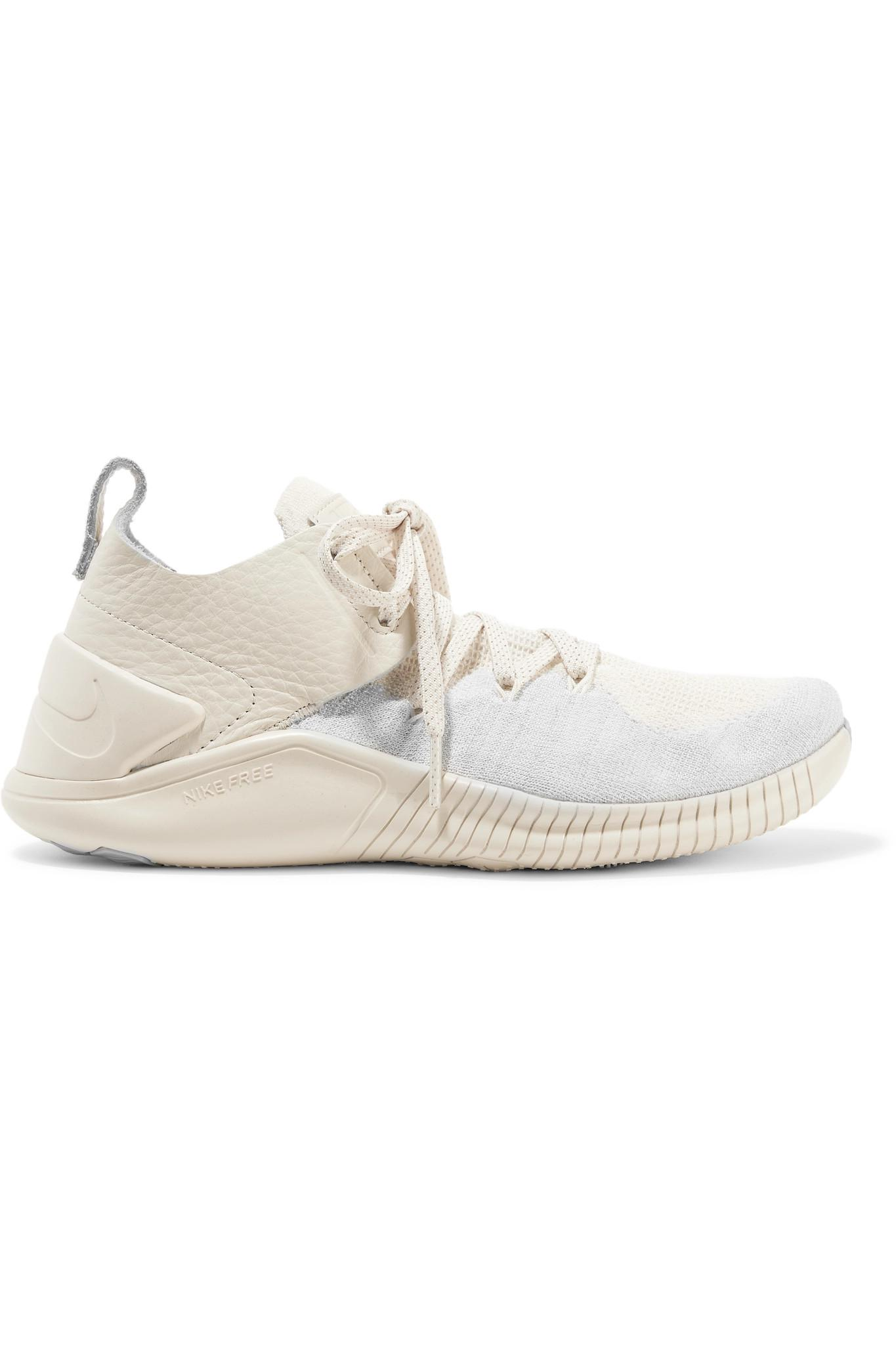 748f856e3f51 Lyst - Nike Free Tr 3 Champagne Crinkled Leather-trimmed Flyknit ...