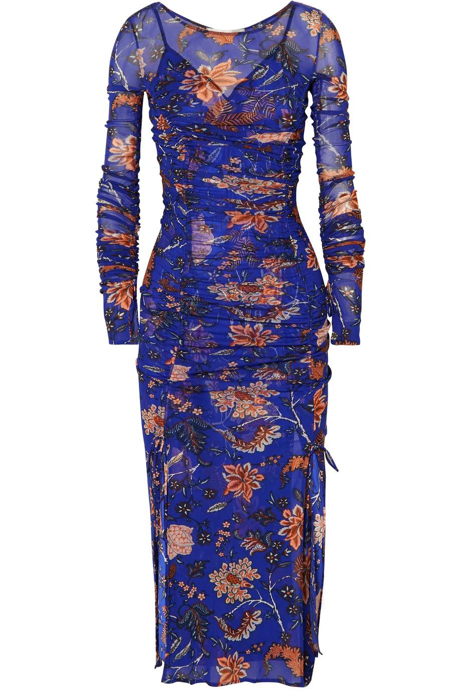 Canton Ruched Floral-print Mesh And Satin Dress - Indigo Diane Von F Clearance Footlocker Finishline Cheap Discount Sale Buy Cheap Pre Order Outlet View Fashionable 0Pcr8j4